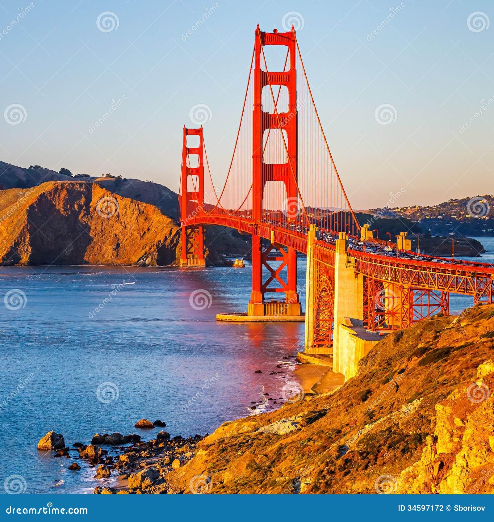 Golden Gate Bridge San Francisco California Sunset Picture: Golden Gate Bridge Stock Photo. Image Of Scene, Evening