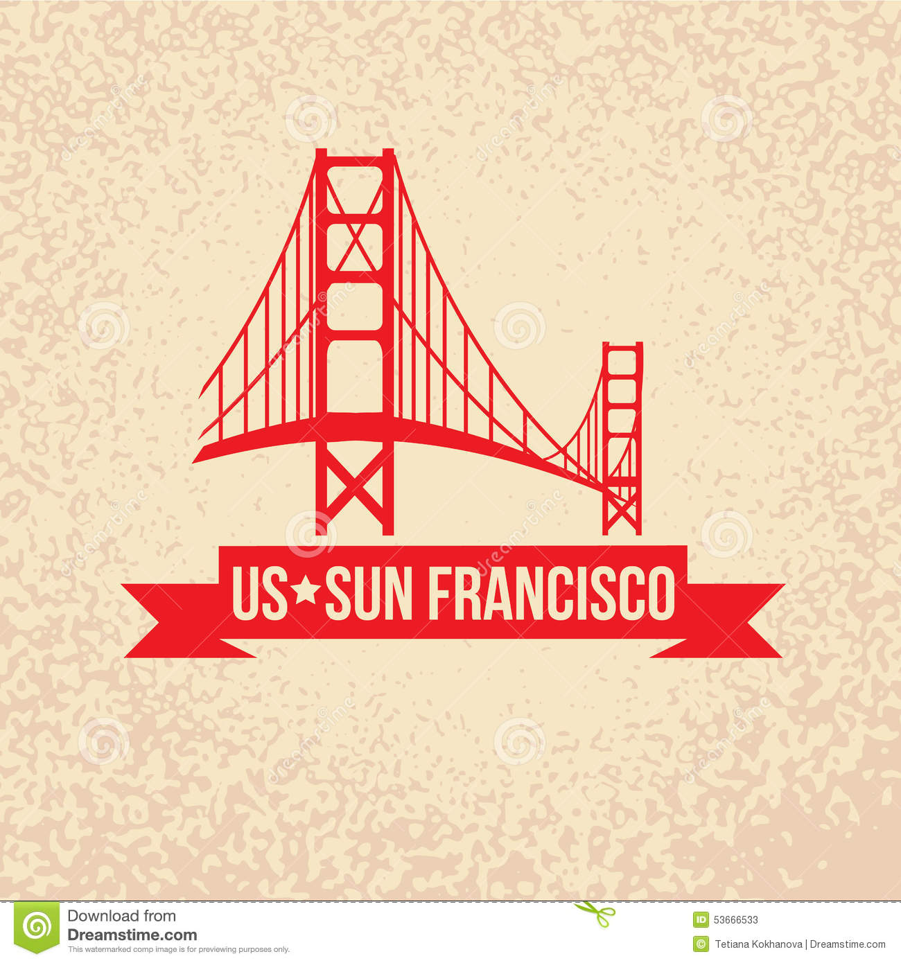 Golden Gate Bridge The Symbol Of Us Sun Francisco Stock Vector