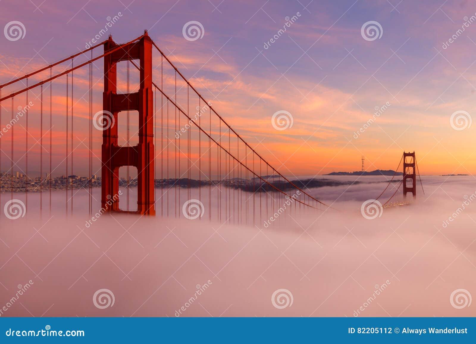 Golden gate bridge tijdens Zonsondergang