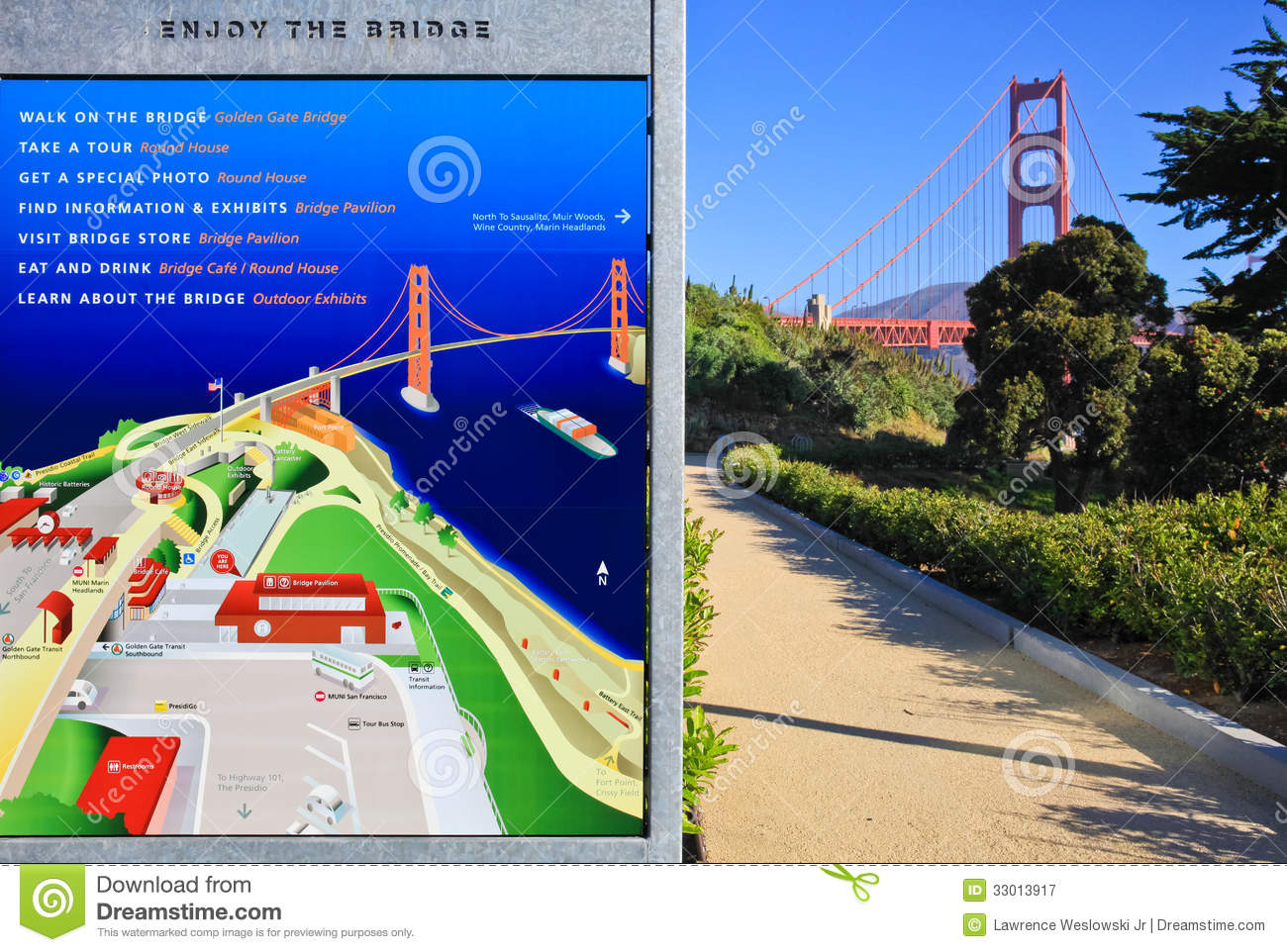 Golden Gate Bridge And Visitor Map Editorial Photography - Image of