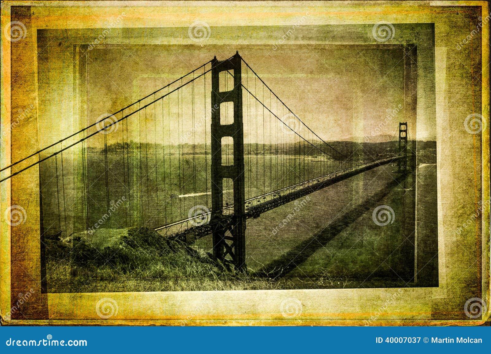 Golden gate bridge w rocznika filtrującym i textured stylu