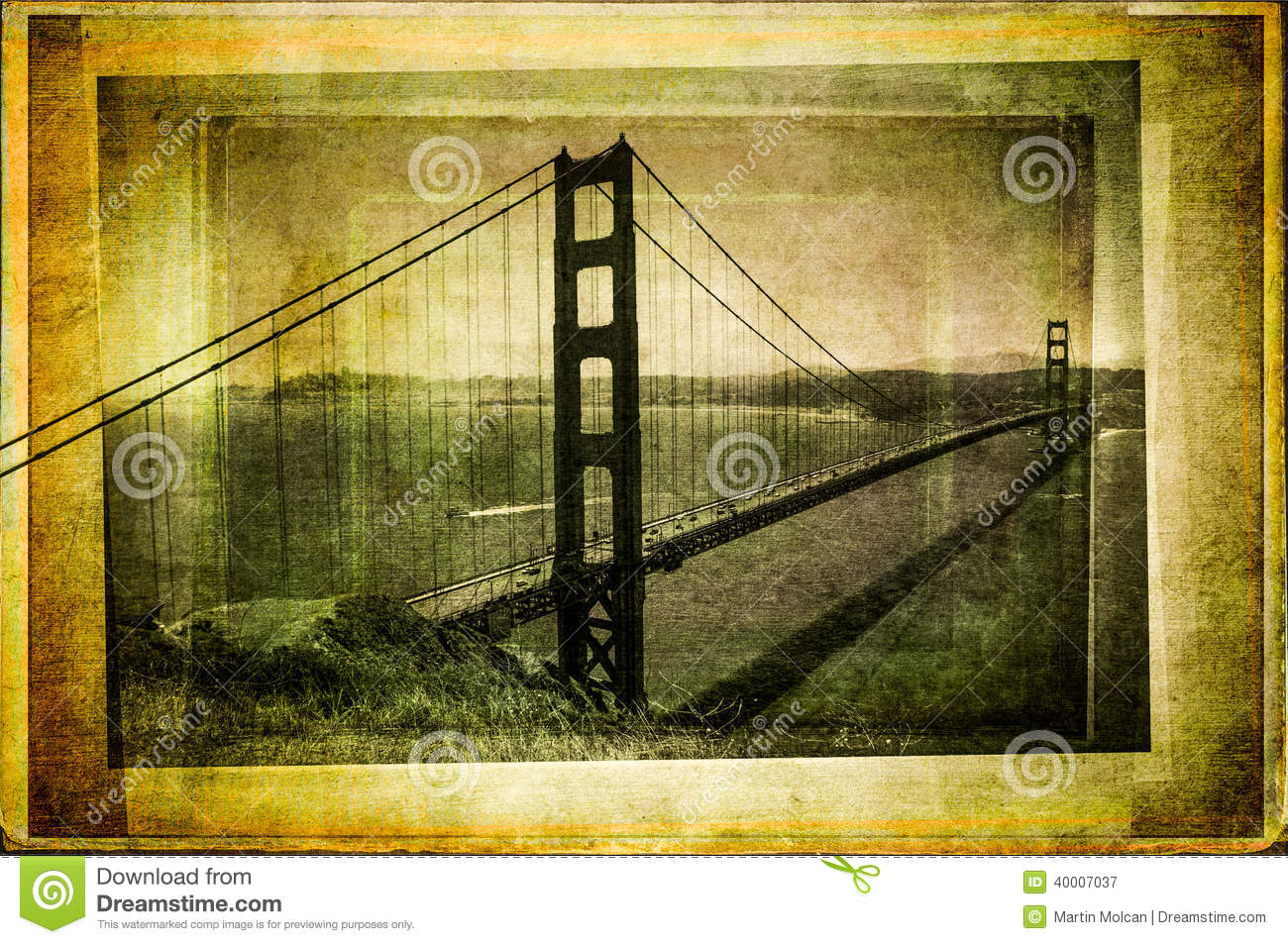 Golden gate bridge in Weinlesegefilterter und Texturart