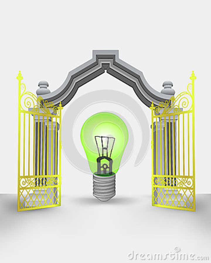 Golden gate entrance with green ecological bulb