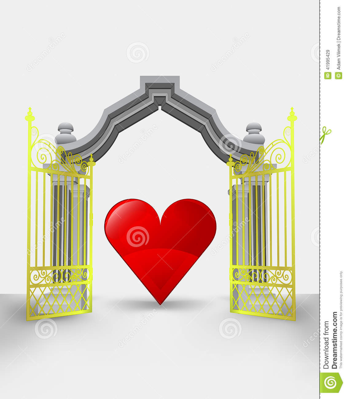 Golden gate entrance with red heart