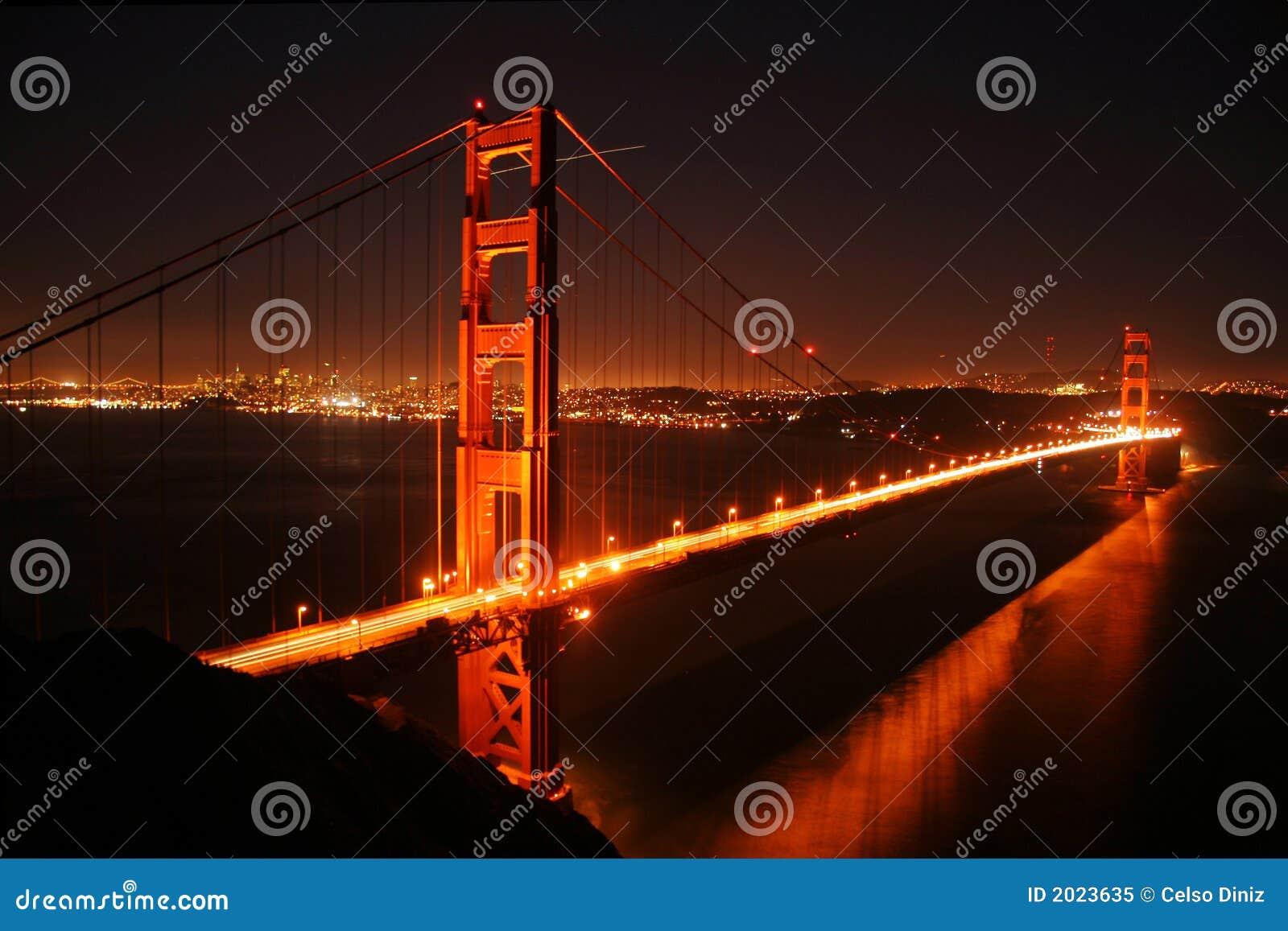 Golden gate bridge at night royalty free stock photo for Golden night