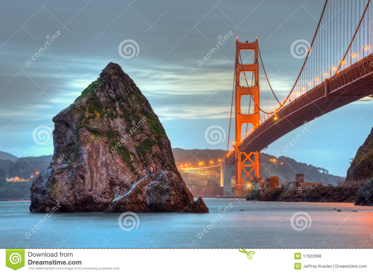 Golden Gate And Rock Royalty Free Stock Photos Image