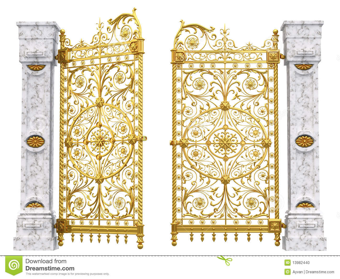 Golden Gates And Columns Stock Photo Image 13982440