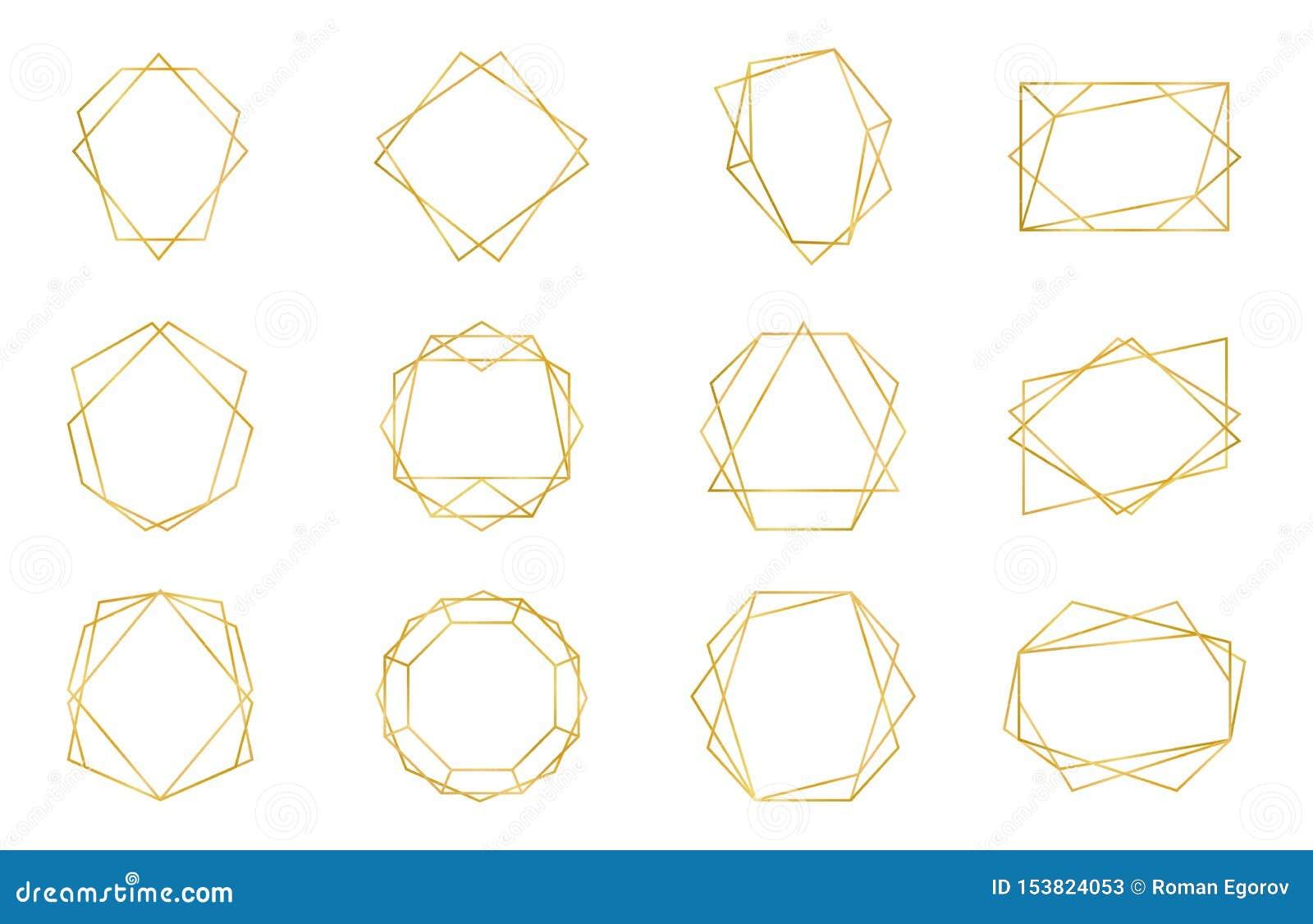 Golden Geometric Frame Luxury Wedding Invitation Polyhedron