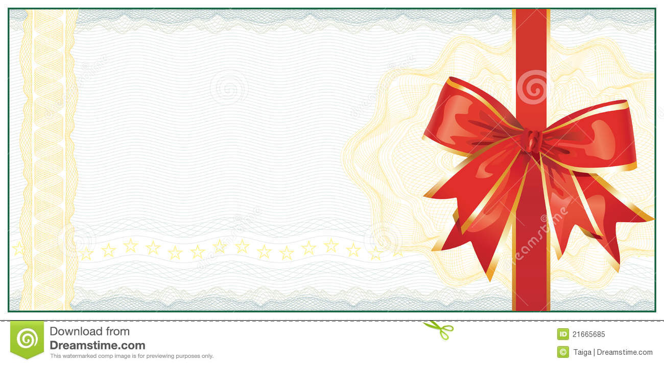 ... Gift Certificate or Discount Coupon template / with red bow / vector