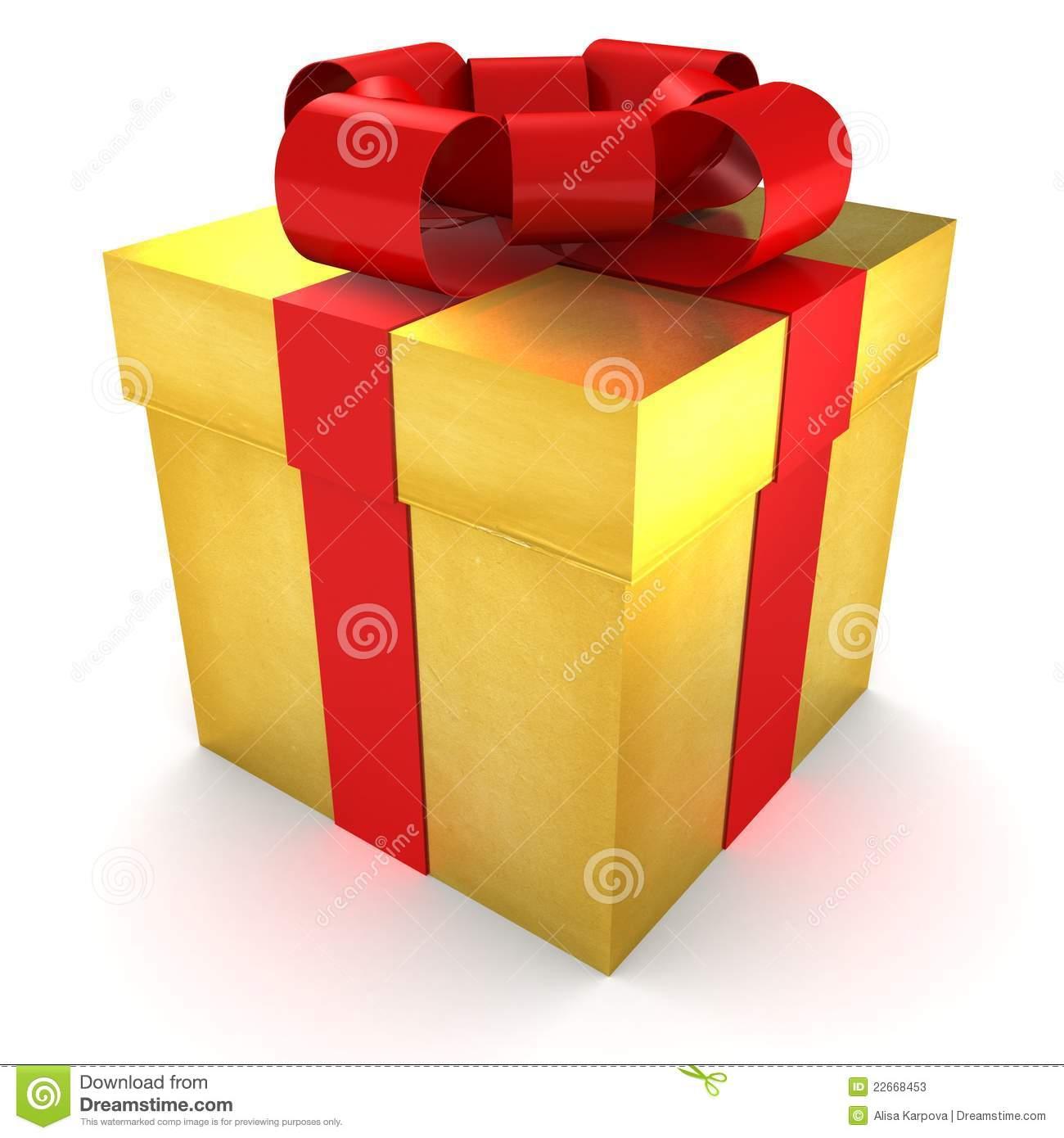 Golden Gift Wrapped Present With Red Satin Ribbon Stock