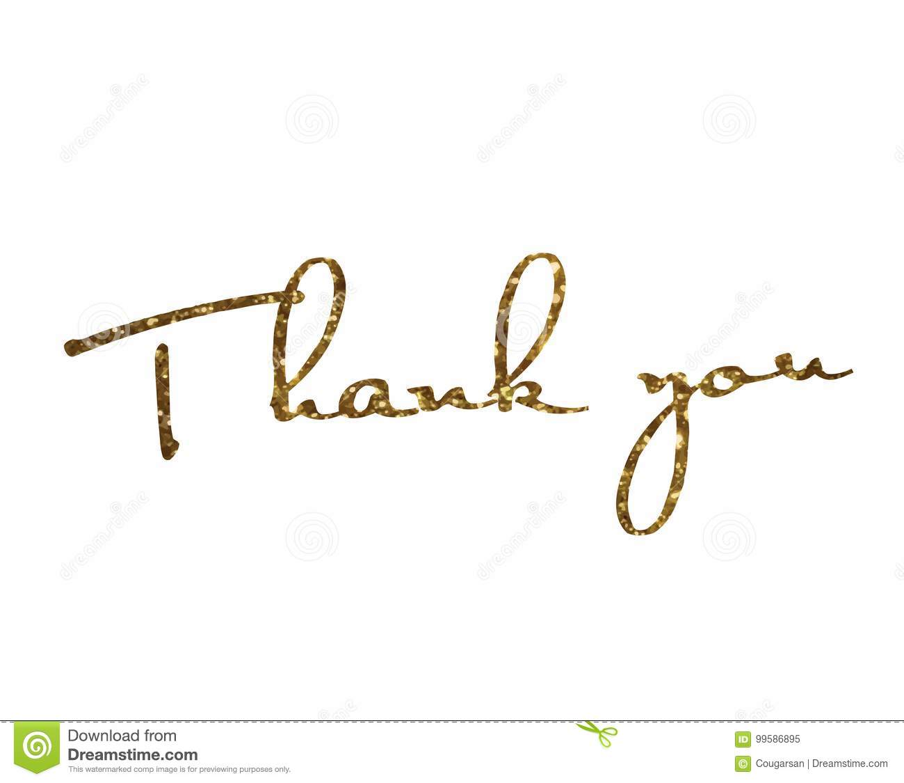 Golden glitter isolated hand writing word THANK YOU