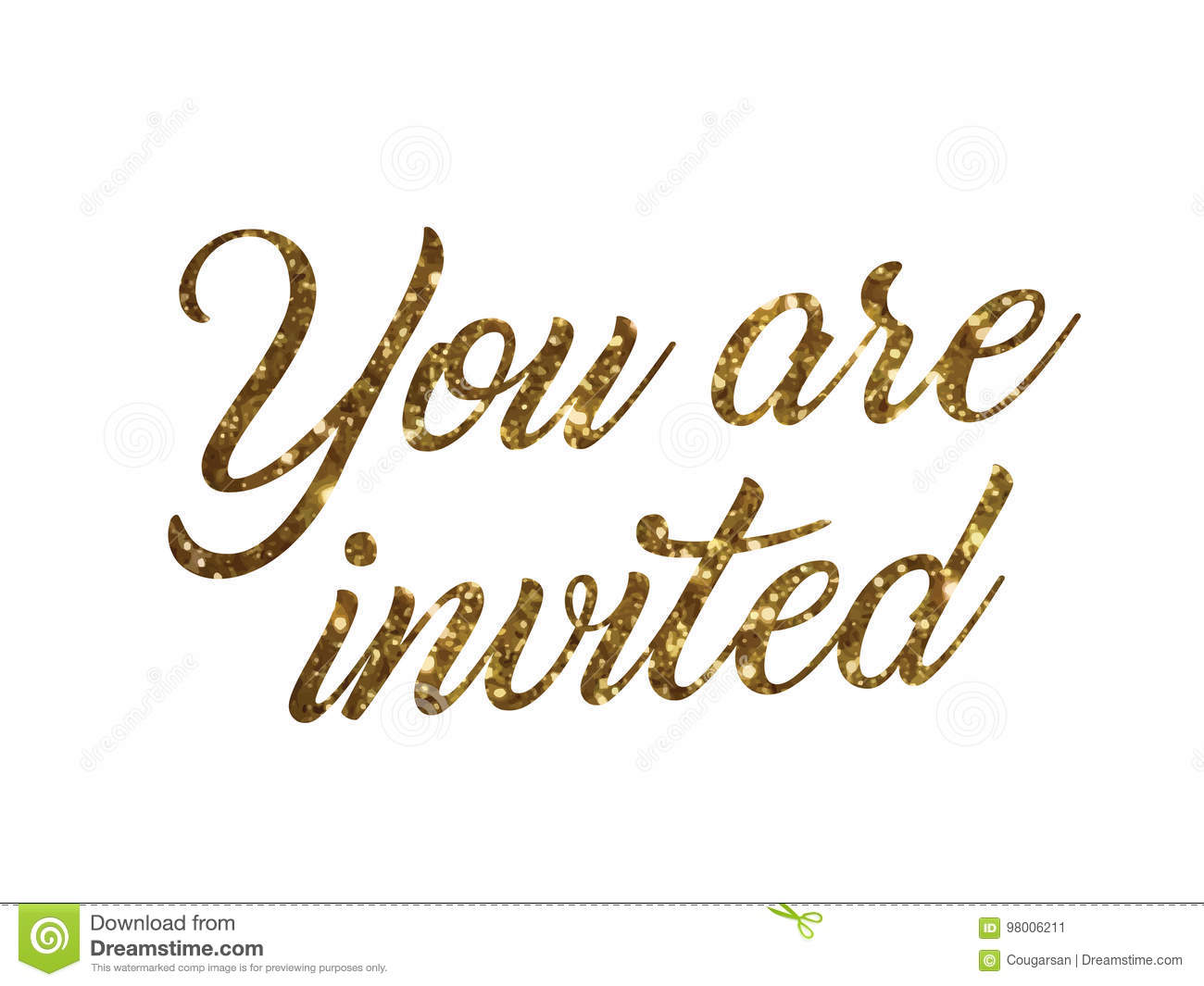 golden glitter of isolated hand writing word you are invited