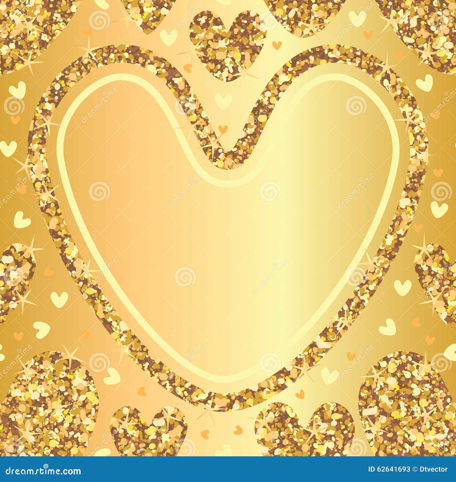 golden glitter love seamless pattern template stock vector