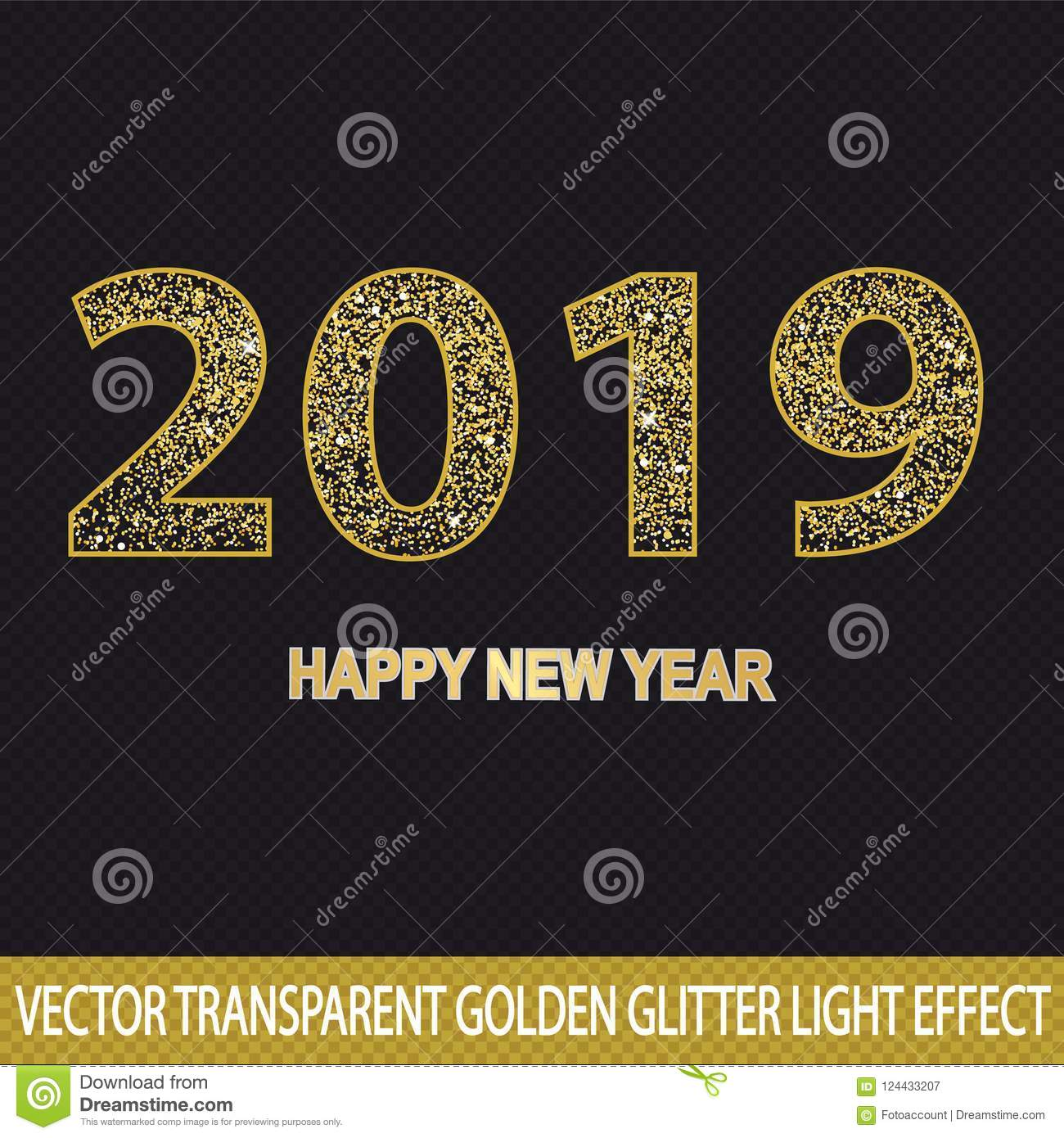 golden glitter number 2019 happy new year vector light effect transparent background