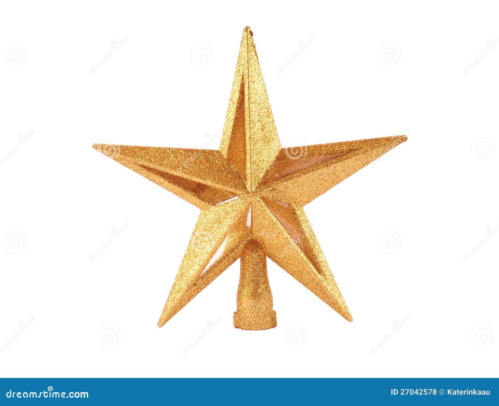 Golden Glittering Star Shaped Christmas Ornament I Stock ...
