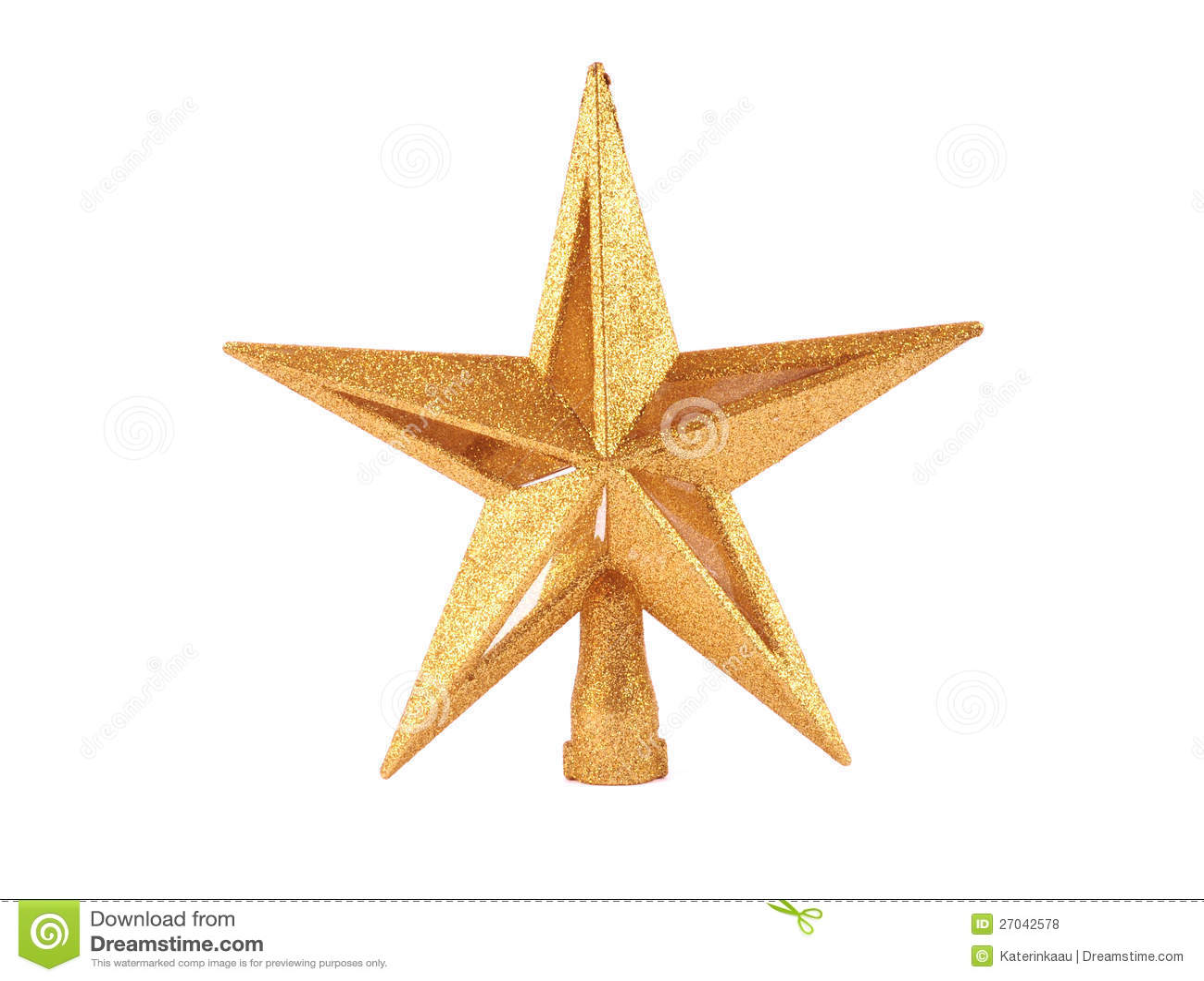 Golden Glittering Star Shaped Christmas Ornament I Stock Photo