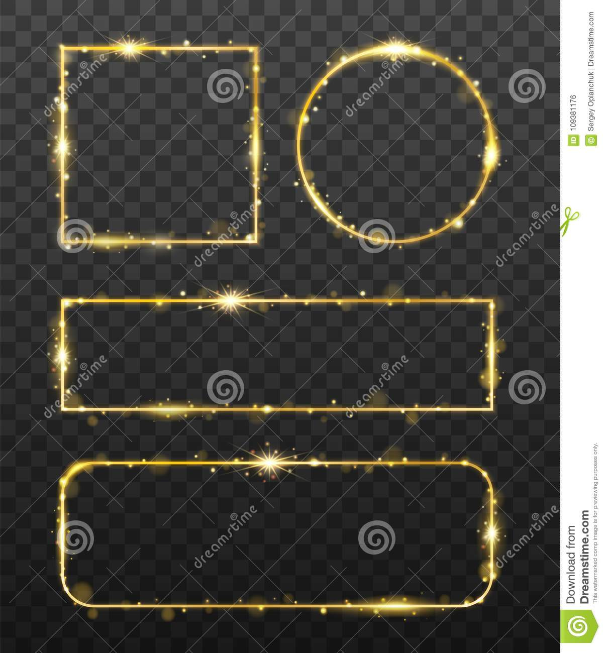 Golden glowing frames with shiny gold sparks. Decorative element for banner or templates with light glittering effect on