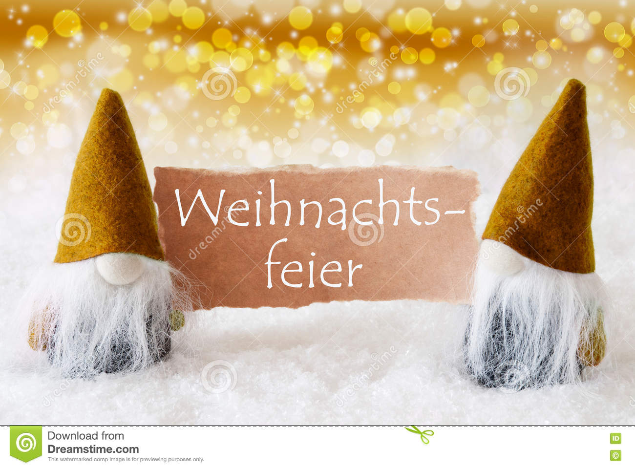 German text weihnachtsfeier means christmas party christmas greeting card with two golden gnomes sparkling bokeh and noble background with snow