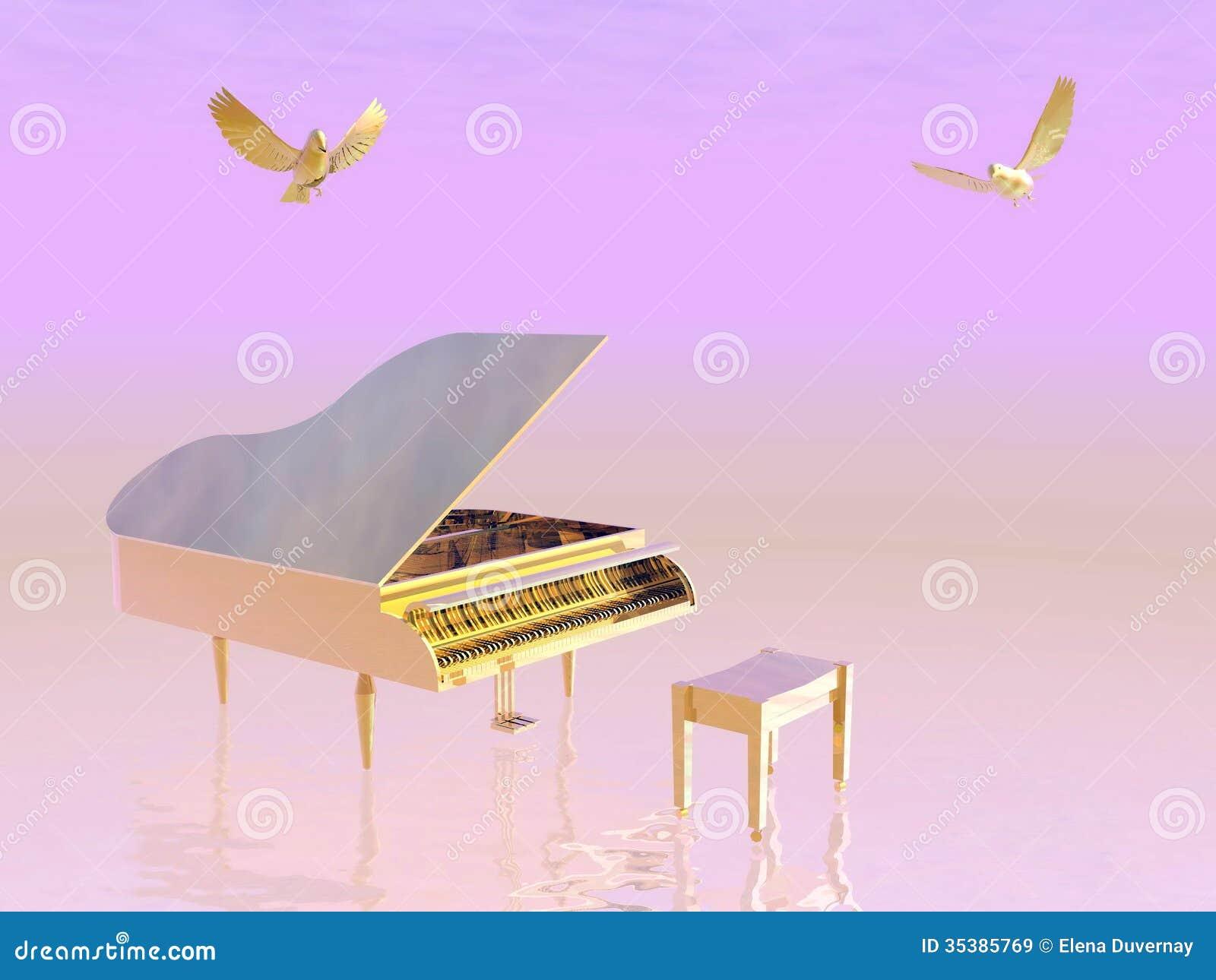 Golden grand piano - 3D render