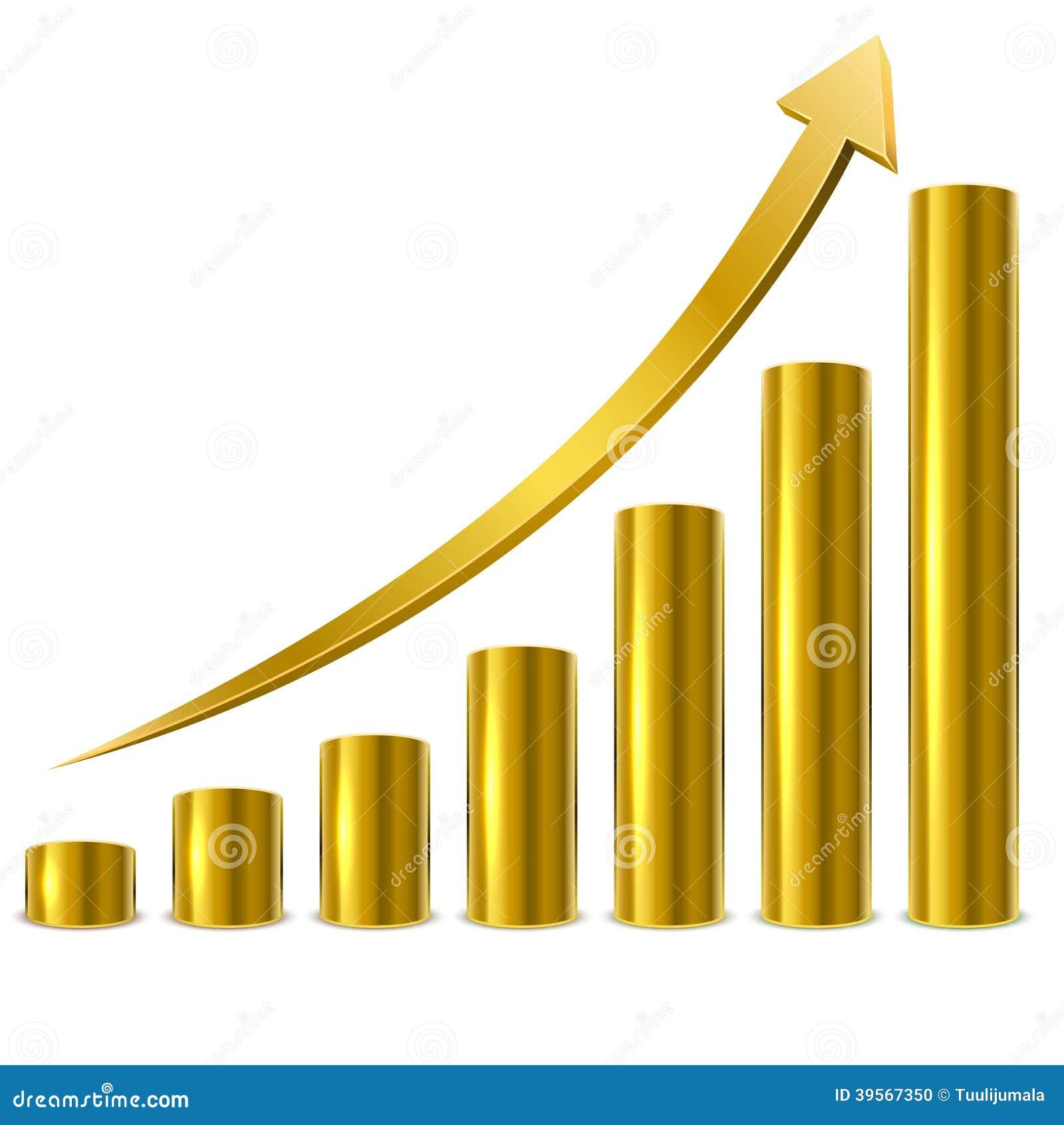 golden graph bars stock vector illustration of cylinder 39567350