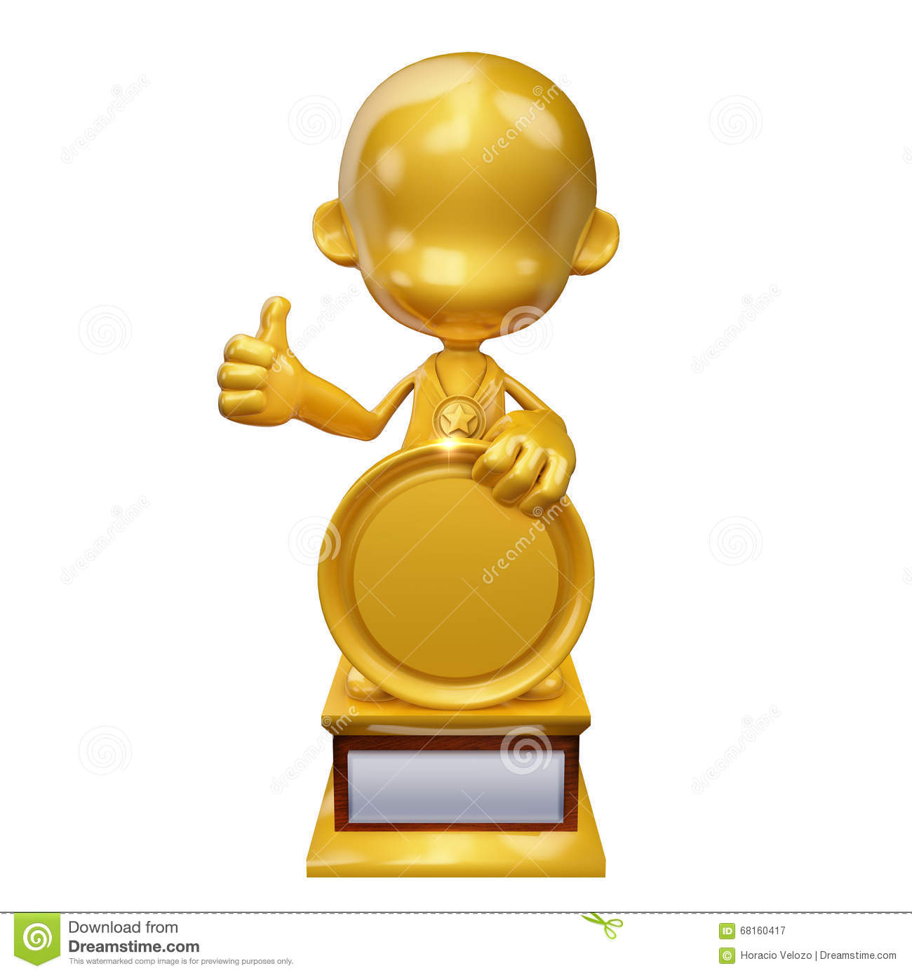 Golden Guy Trophy Holding Medal