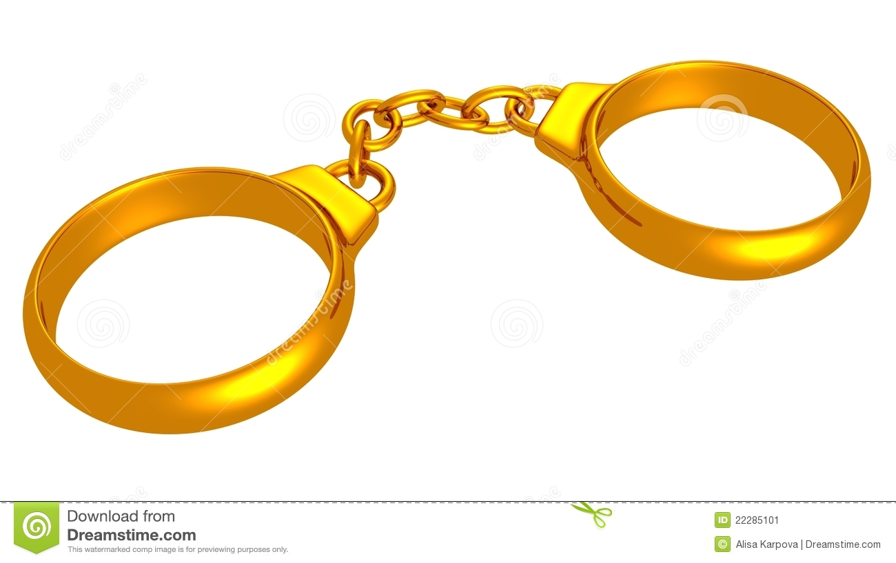 Wedding Ring With Handcuffs Stock Photo