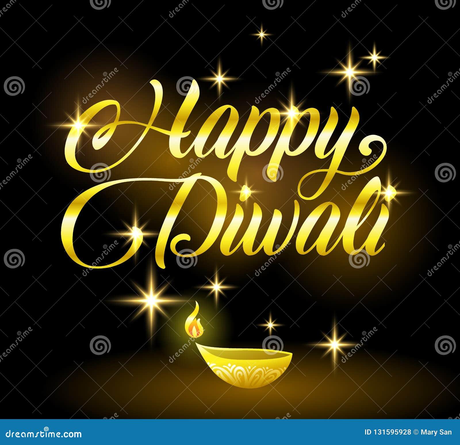 Golden Happy Diwali Congratulation With Stars On Black