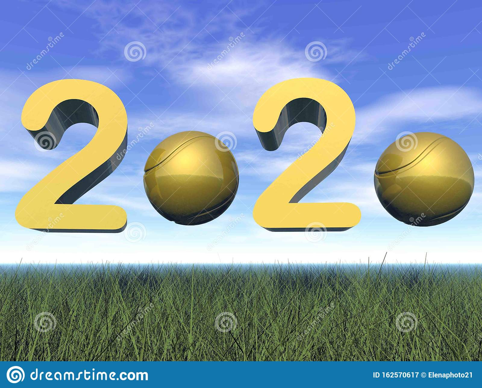 Golden Happy New Year 2020 by day - 3D render