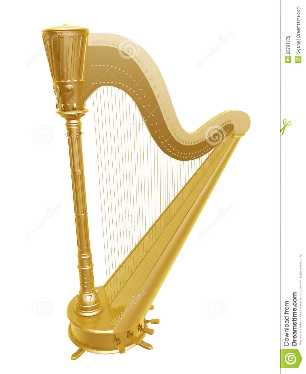 Golden ancient harp isolated on white background.