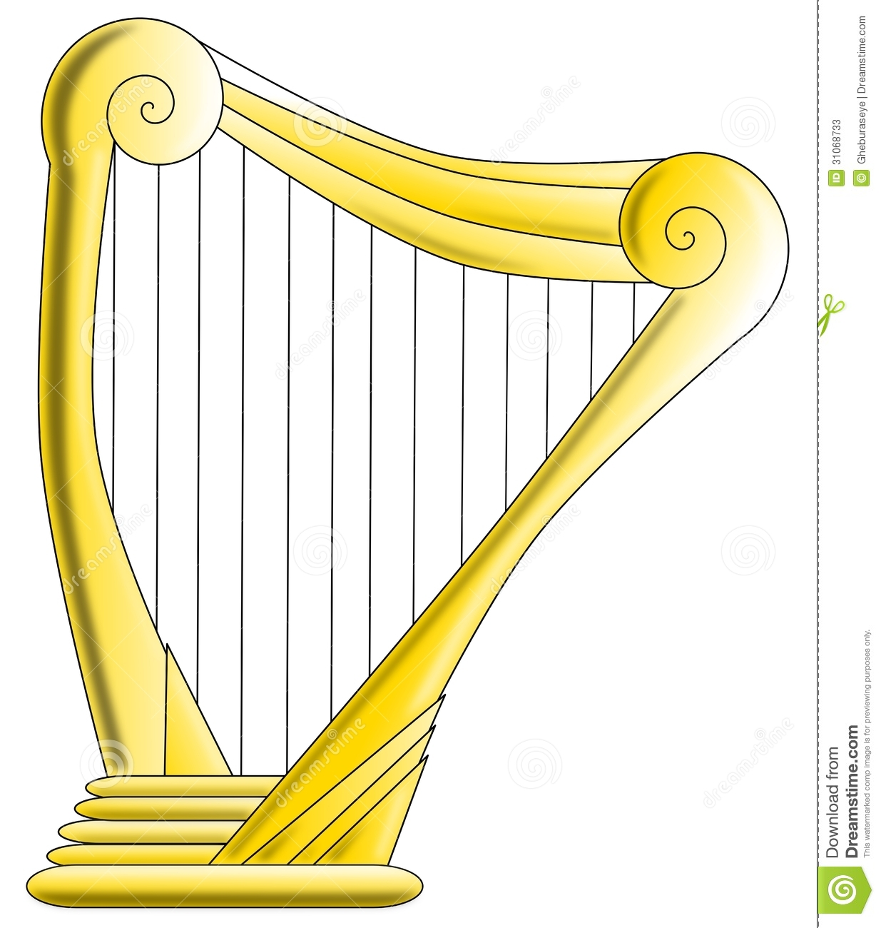 Image representing an isolated harp made with gold.