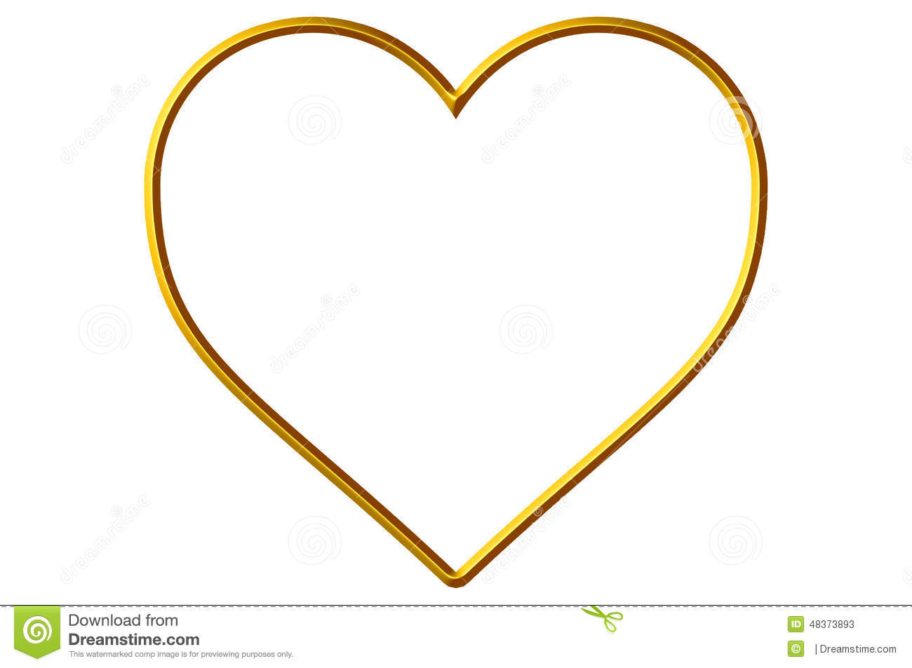 Stock Photos: Golden Heart Frame/Border. Image: 48373893