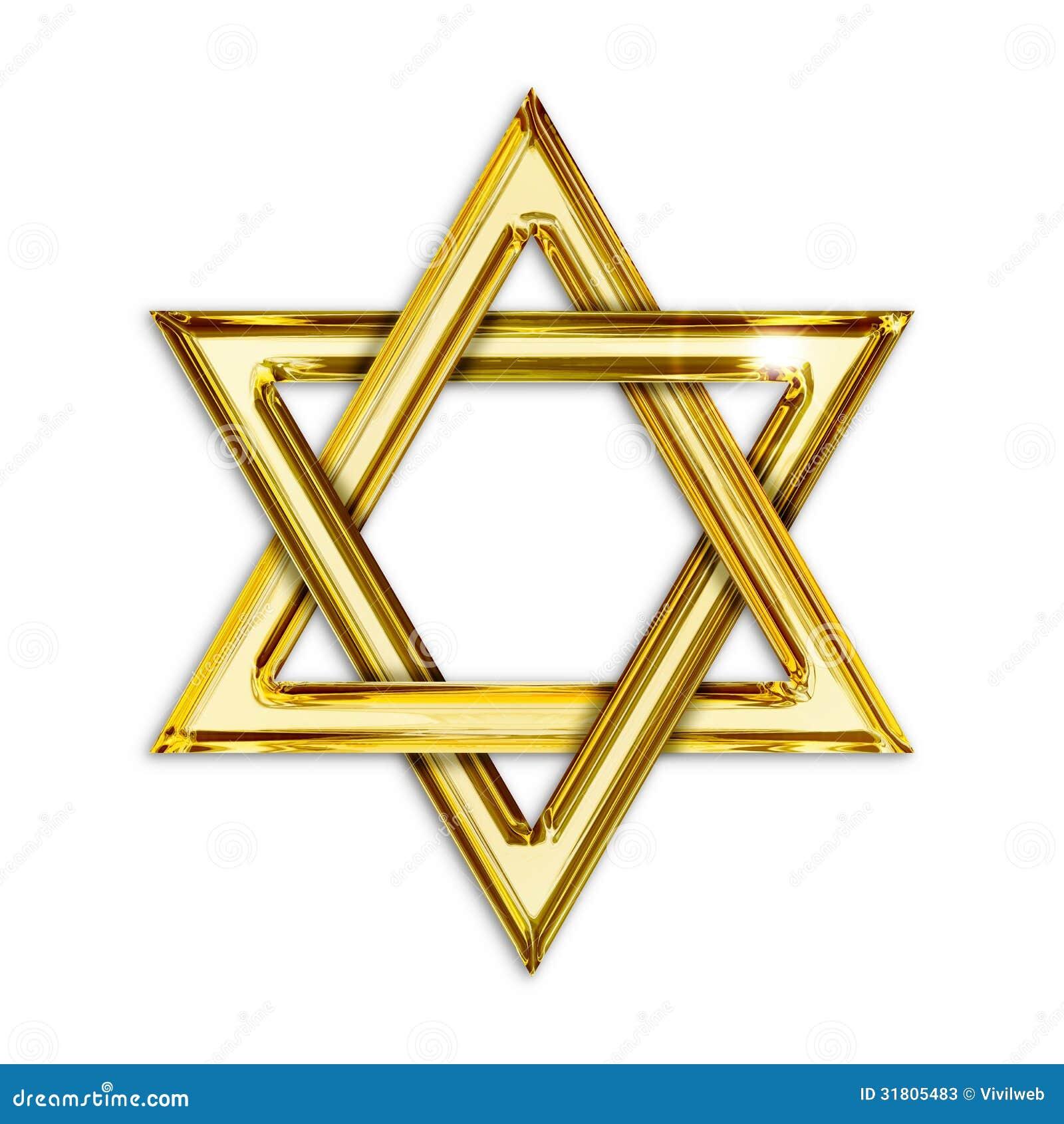 Illustration of golden hexagram on white background.