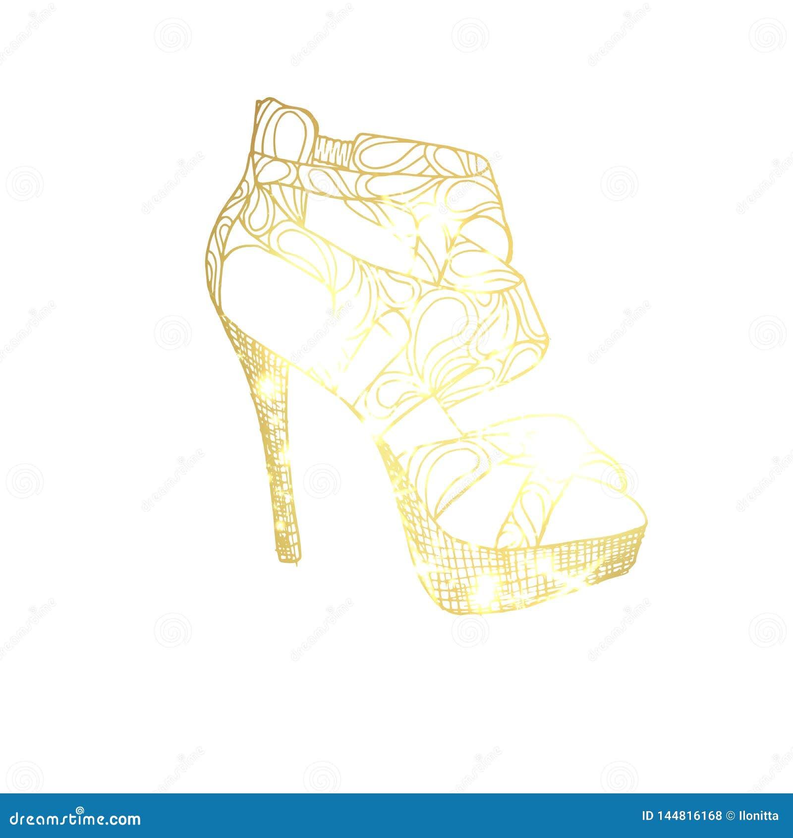 1c837ec2fb6 Golden High Heel Shoe Illustration Stock Vector - Illustration of ...