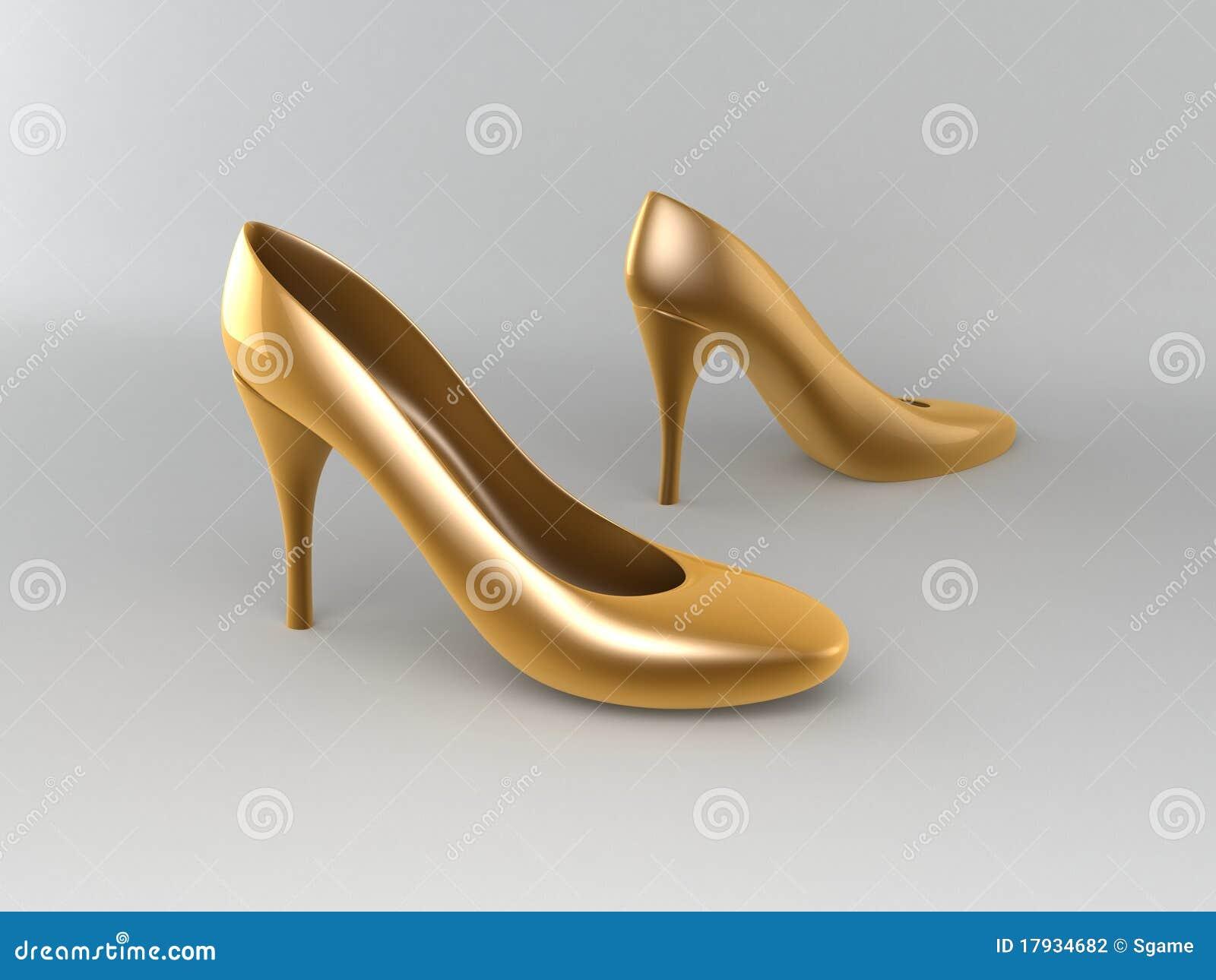 golden high heeled shoes stock photography image 17934682. Black Bedroom Furniture Sets. Home Design Ideas