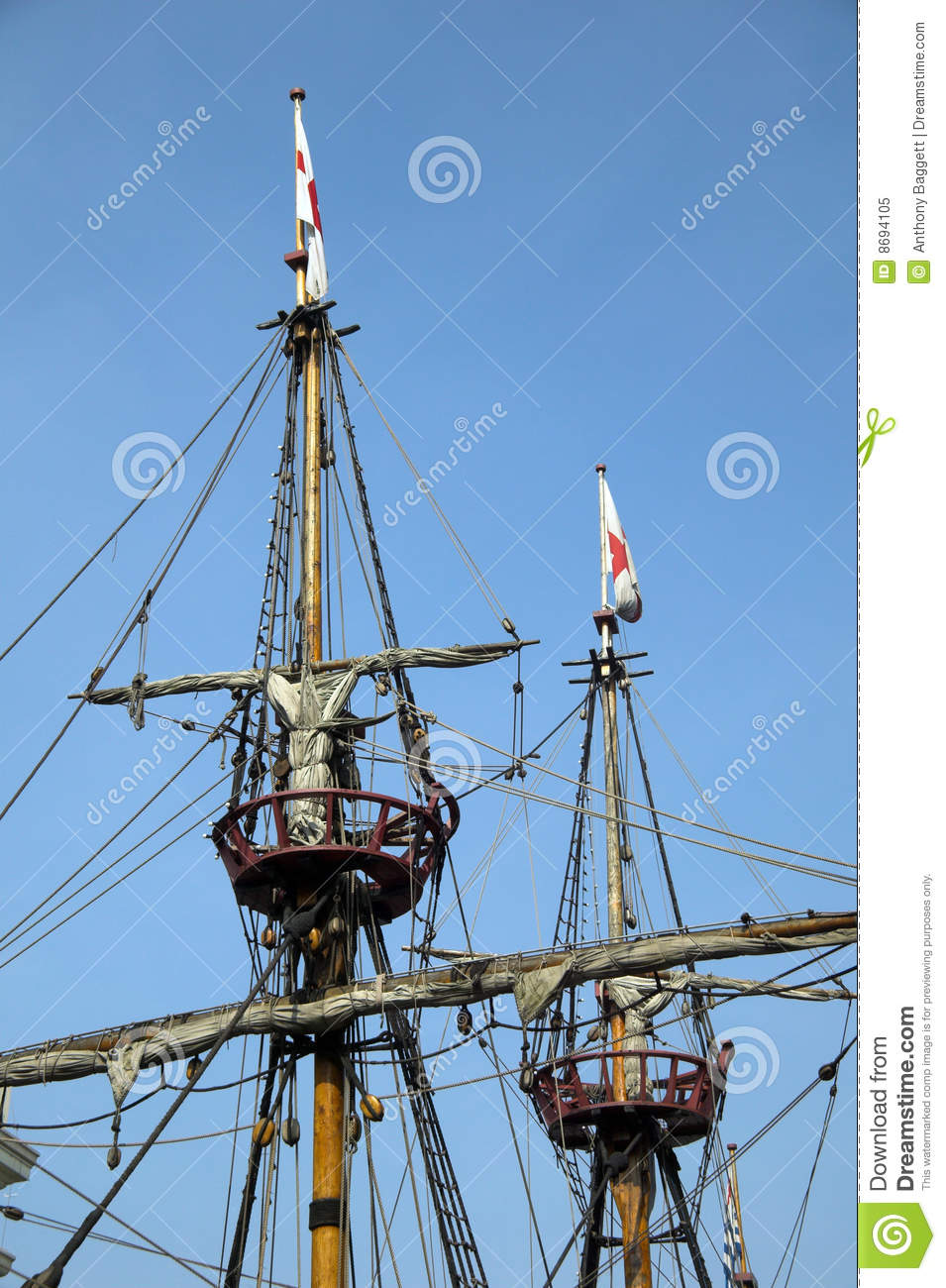 The Golden Hinde Crows Nest & Rigging Royalty Free Stock ...