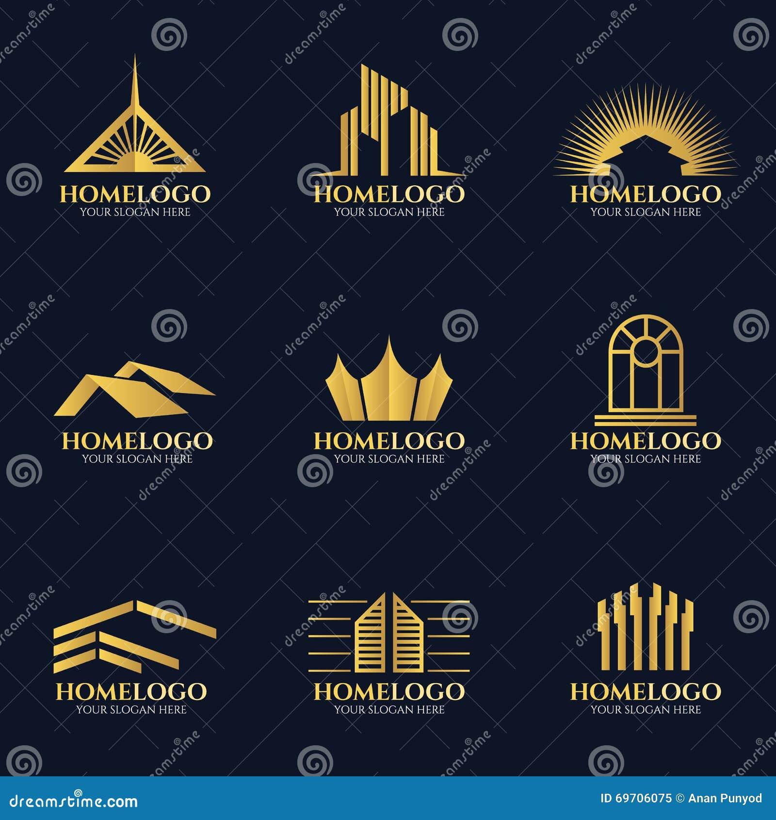Golden Home Logo Vector Set Design Stock Vector Image