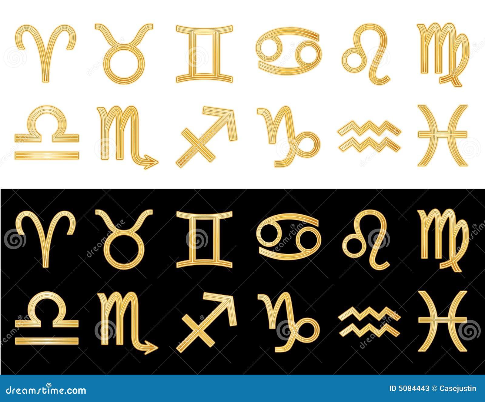 Golden Horoscope Symbols Stock Vector Illustration Of Icon 5084443