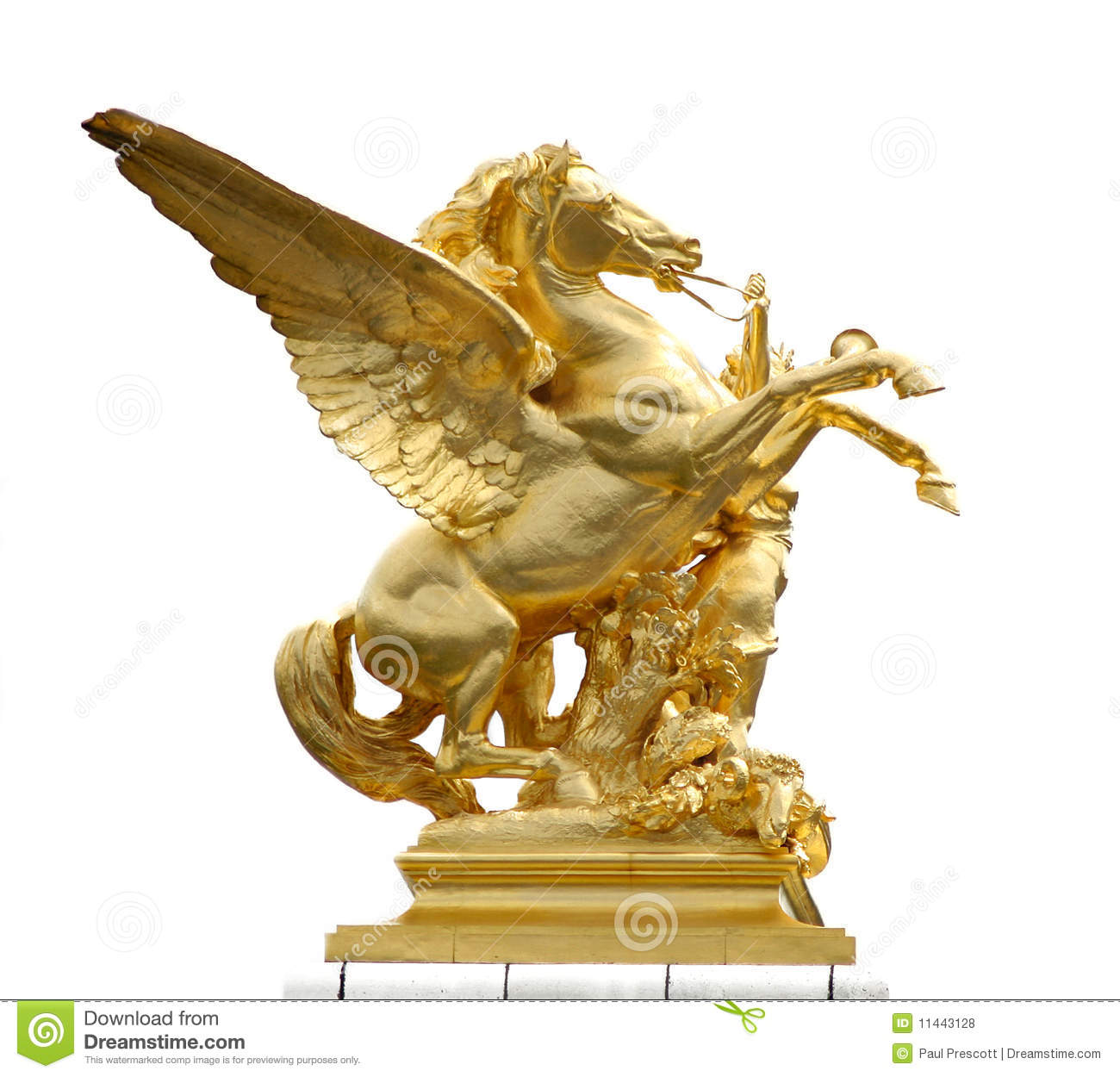 Golden horse statue stock photo. Image of building, wings ...