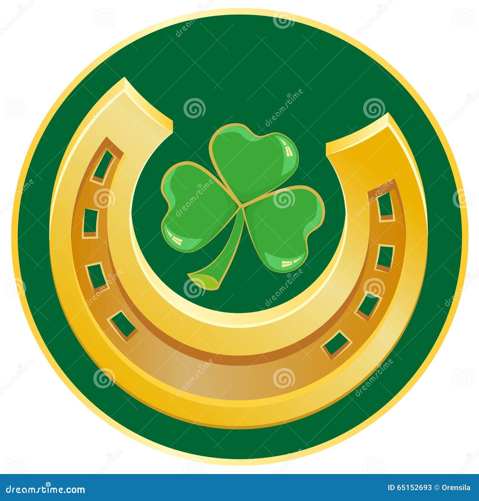 Golden horseshoe and clover leaf symbol of good luck stock vector golden horseshoe and clover leaf symbol of good luck buycottarizona