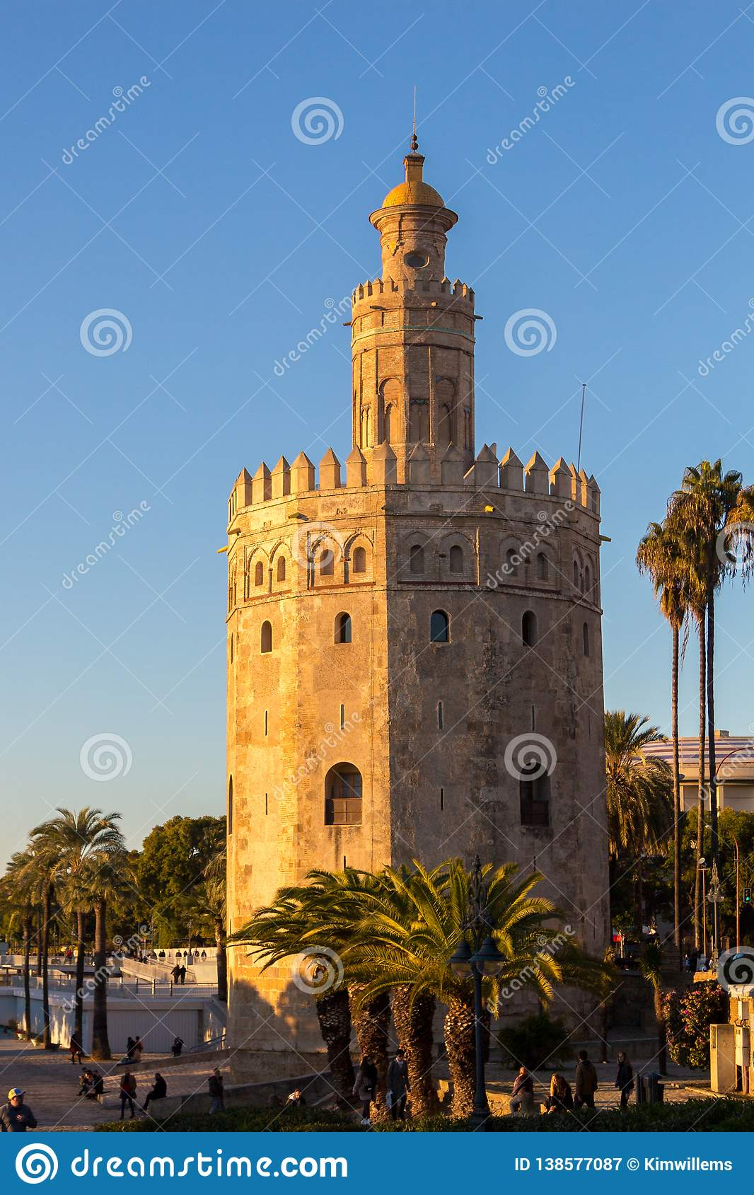 Golden hour with the golden tower in Seville