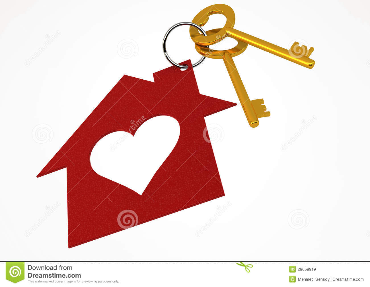 Golden House Keys With Red Heart Shape House Icon