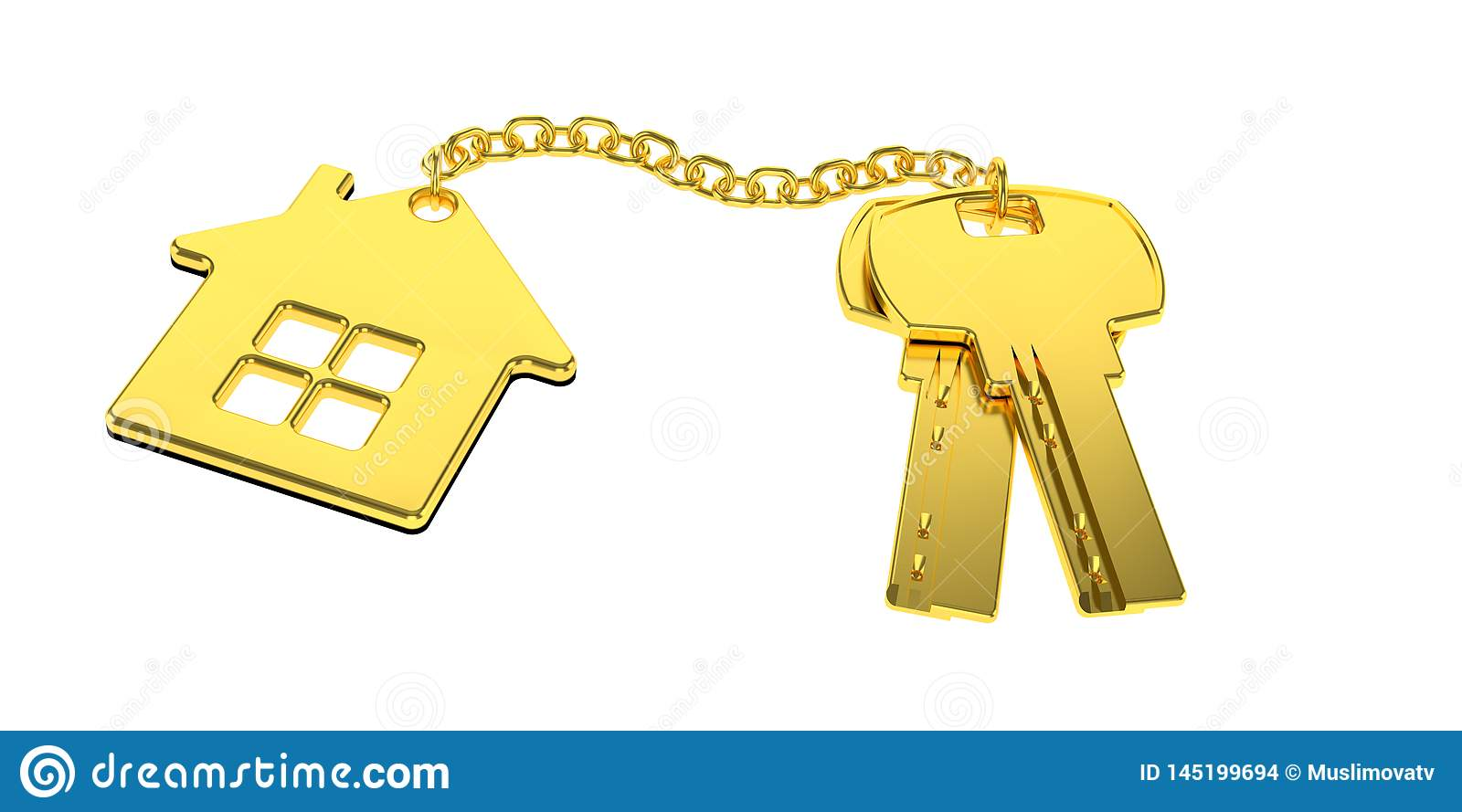 Golden house keys with golden trinket house isolated on white background. new home concept. Real estate. 3d rendering