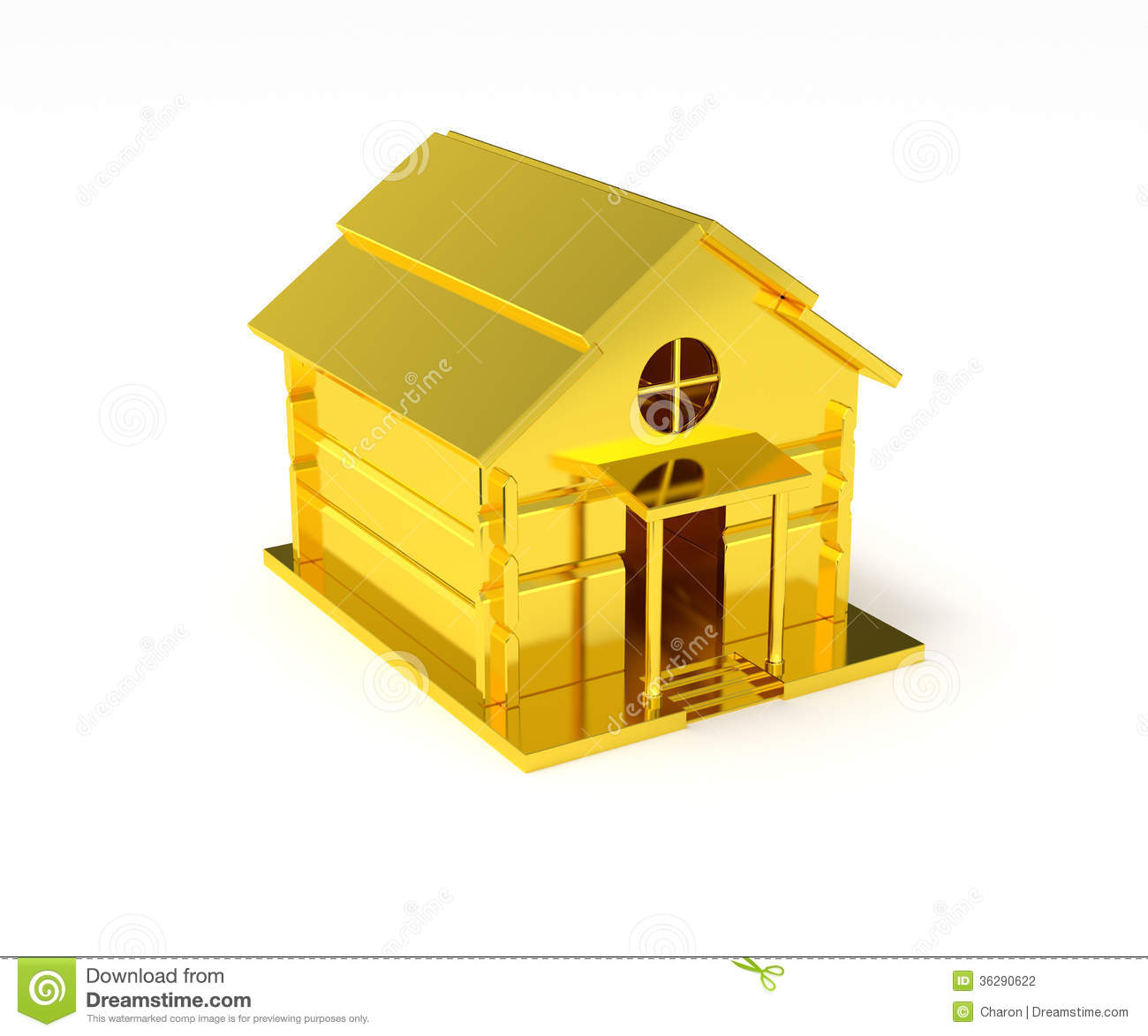 Golden House Miniature Gold Toy Stock Illustration