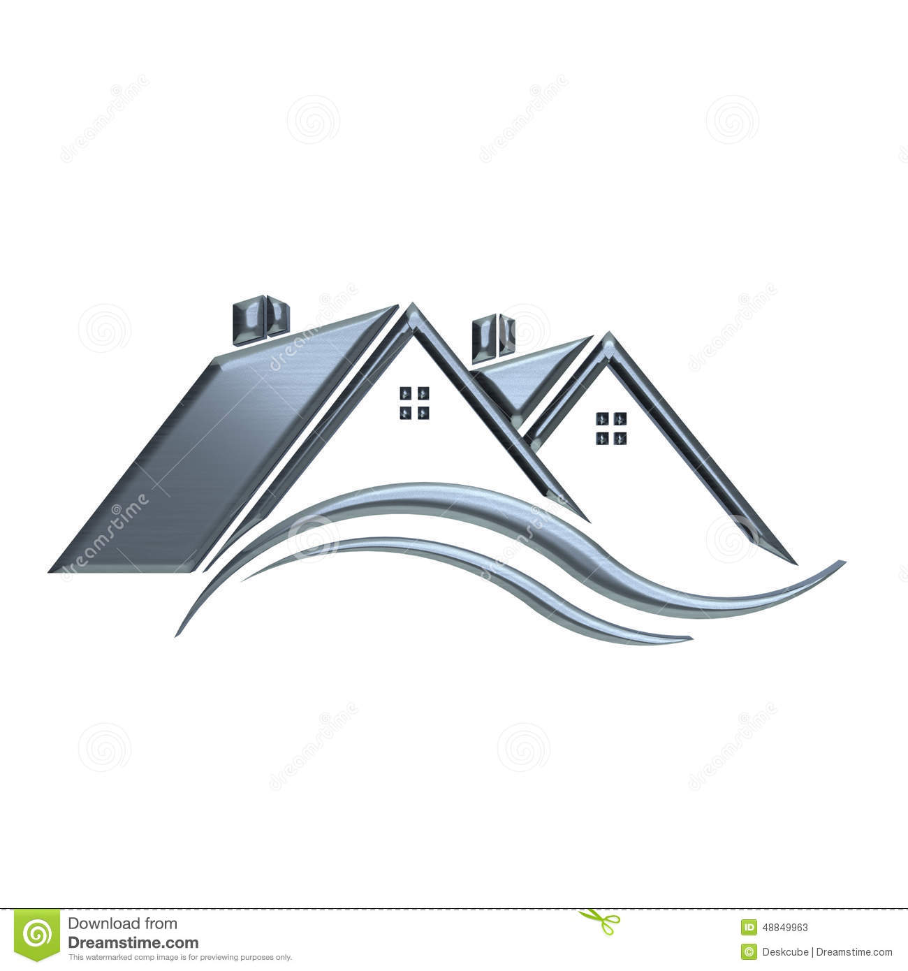 Silver Houses Real Estate Logo Stock Illustration - Image: 48849963