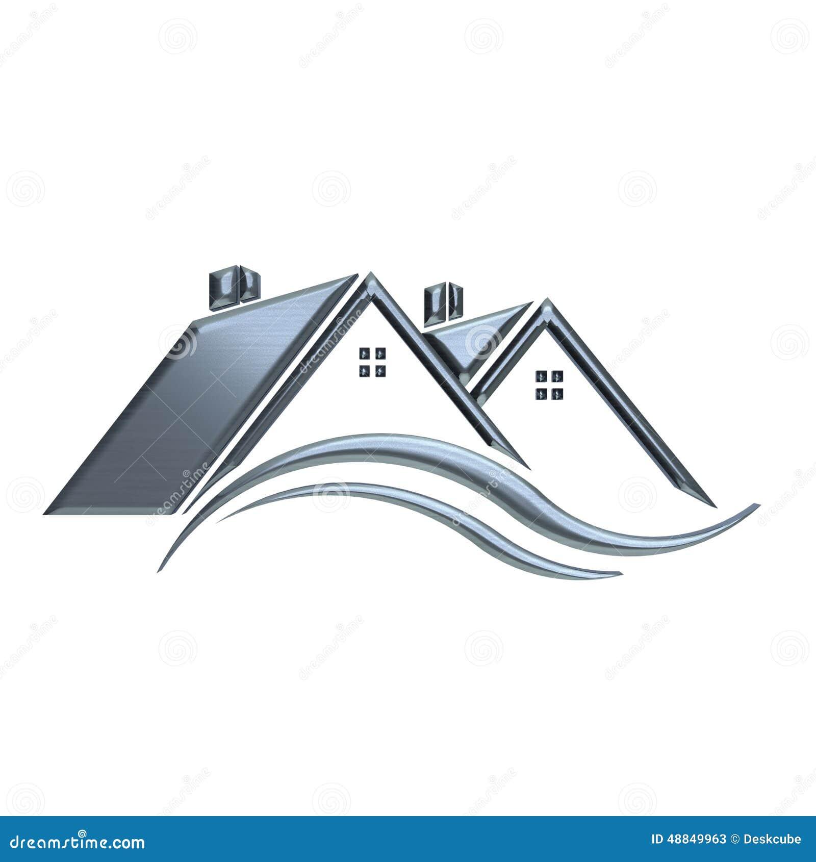 silver houses real estate logo stock illustration