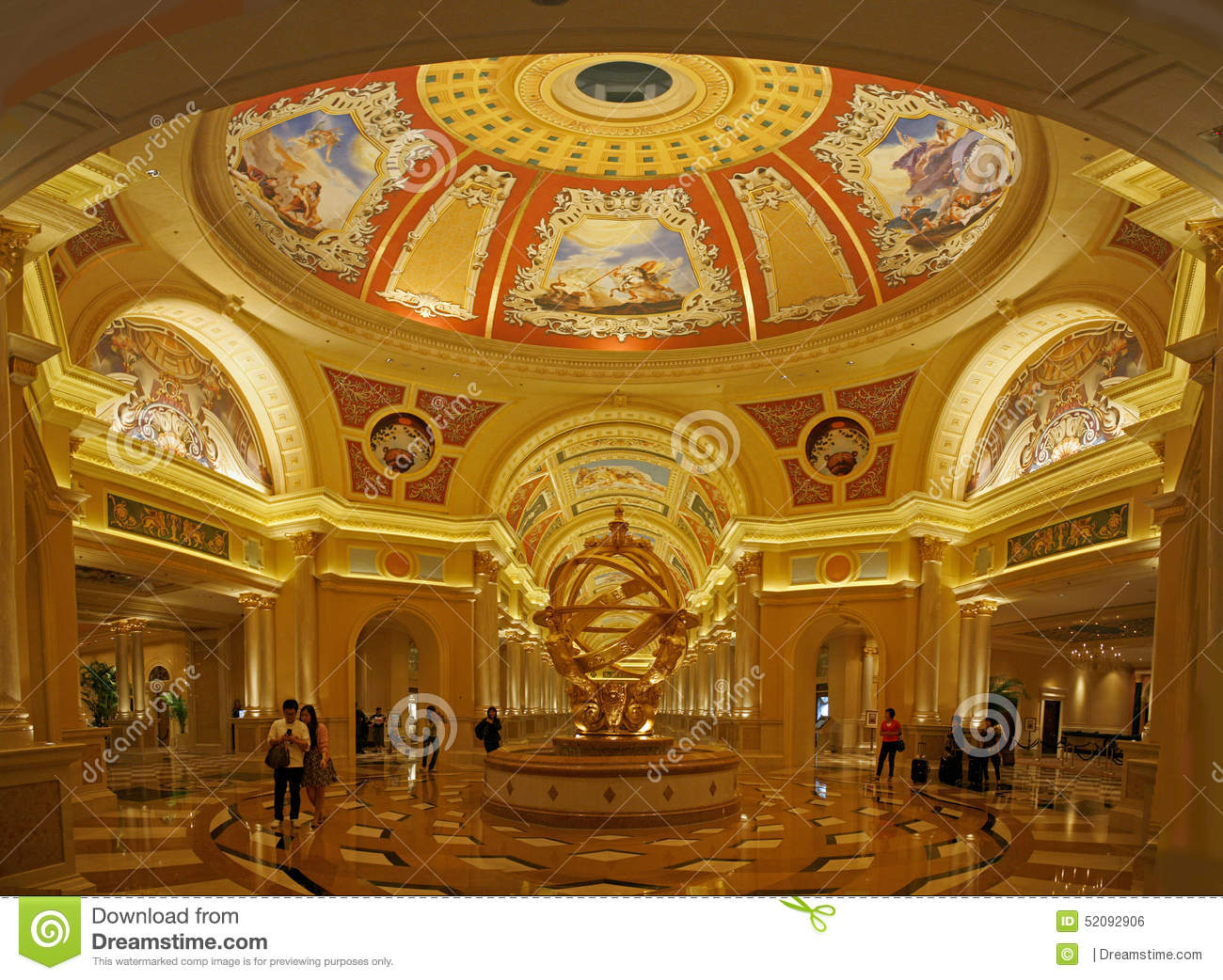 Golden hues of the hallway of a casino in macau modeled on for Italian culture