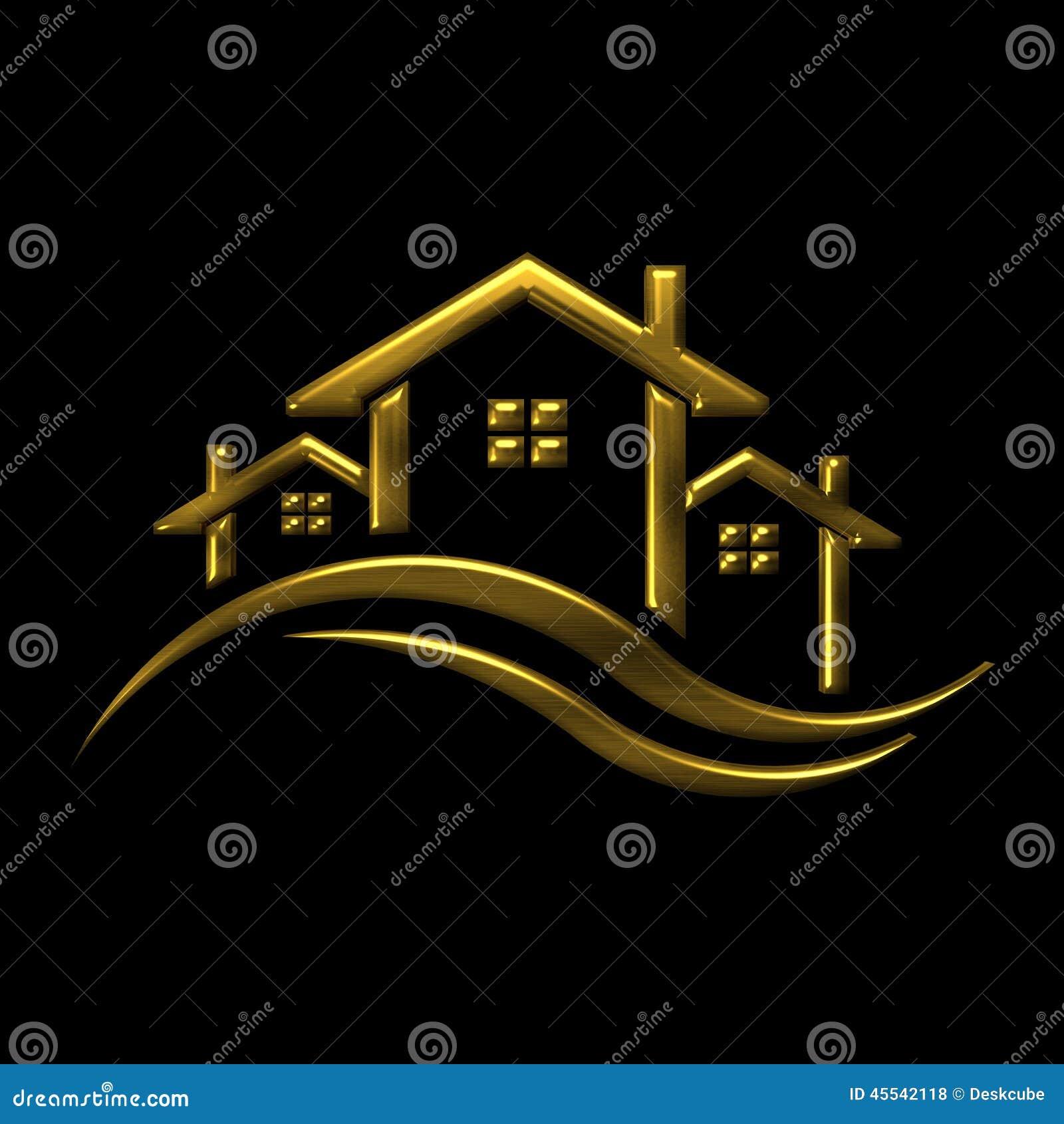 golden icon houses 3d illustration logo stock illustration