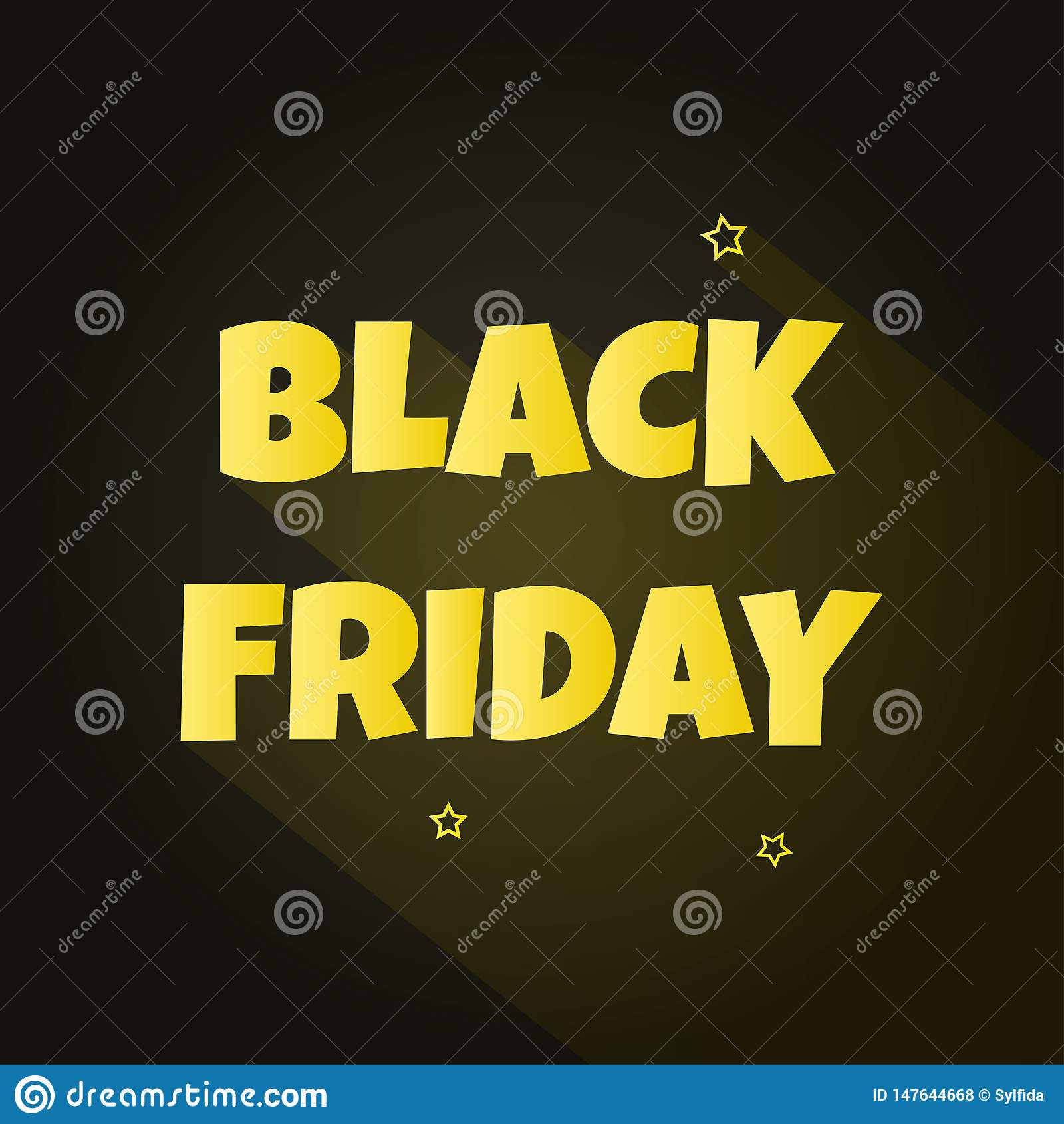 Golden inscription BLACK FRIDAY with shadow and stars on background. Vector