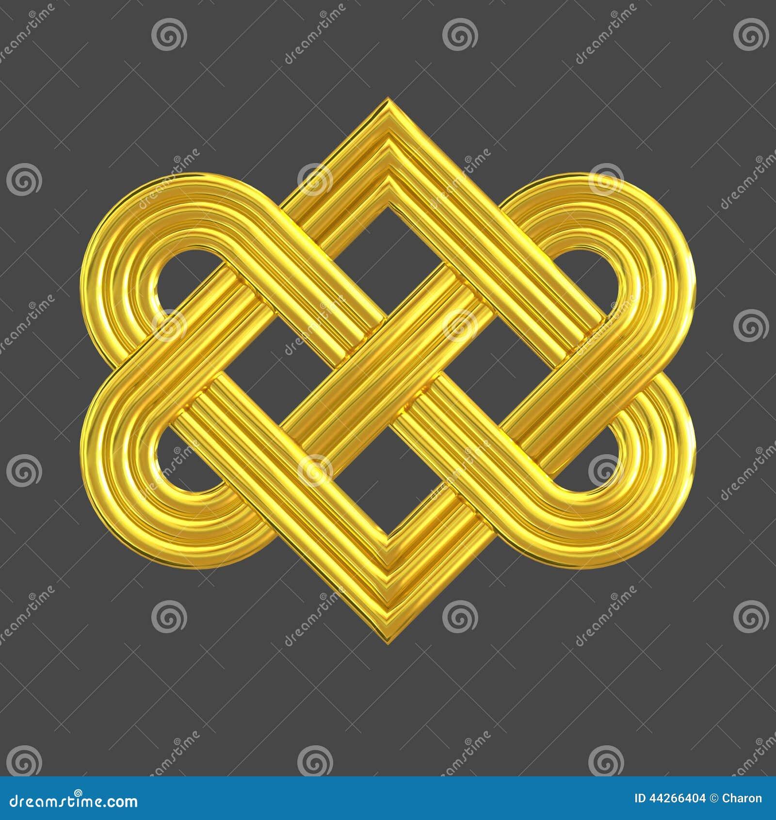 Gold eternal knot charm symbol stock image image of image golden interlocking heart knot symbol stock images biocorpaavc Gallery