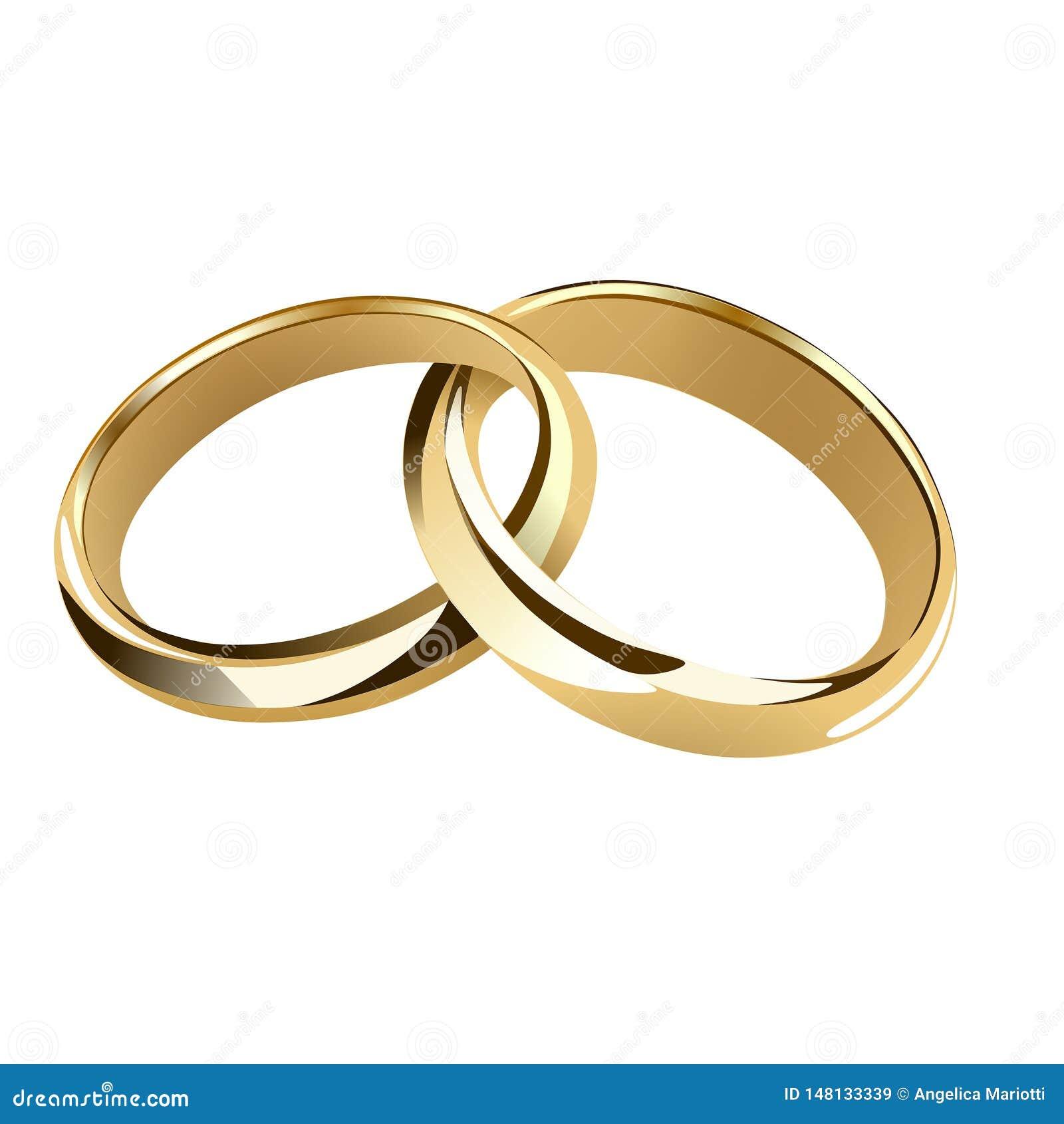 Golden Intertwined Wedding Rings Stock Vector Illustration